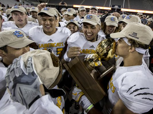 Scottsdale Saguaro celebrates after defeating Marcos de Niza for the Division II state championship (Photo: Sean Logan, azcentral sports)