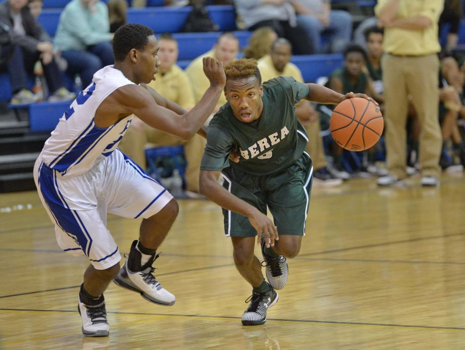 Senior guard Zay Ballenger, right, and the Berea Bulldogs will play at Southside Friday night in the Peach Blossom AAA Region opener for both teams.