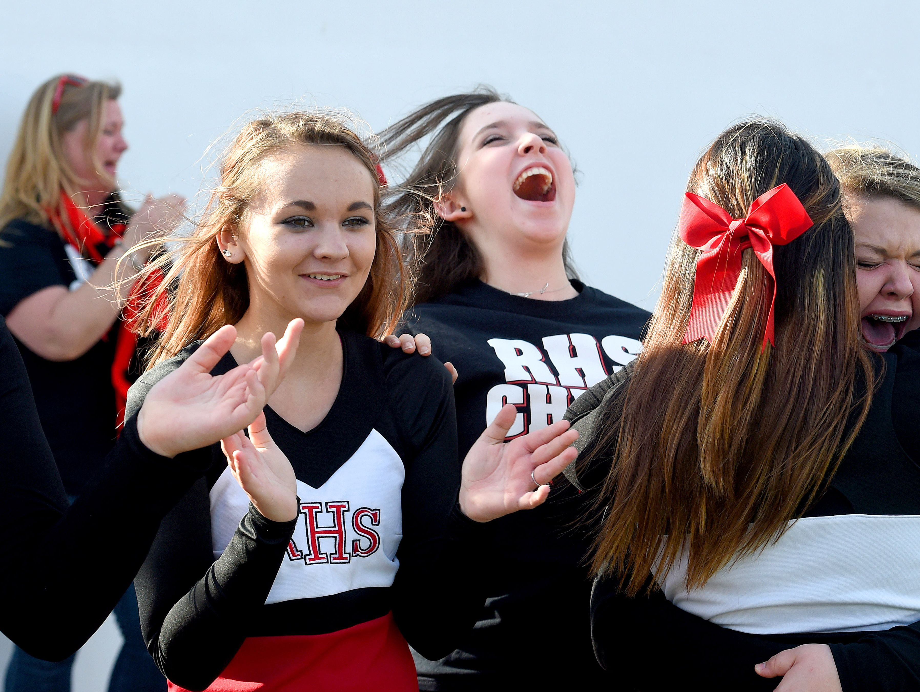 Riverheads' cheerleaders celebrate a touchdown by Taz Miller as time runs out on the clock during the Group 1A football championship in Salem on Saturday, Dec. 12, 2015. Riverheads lost to Galax 7-6.