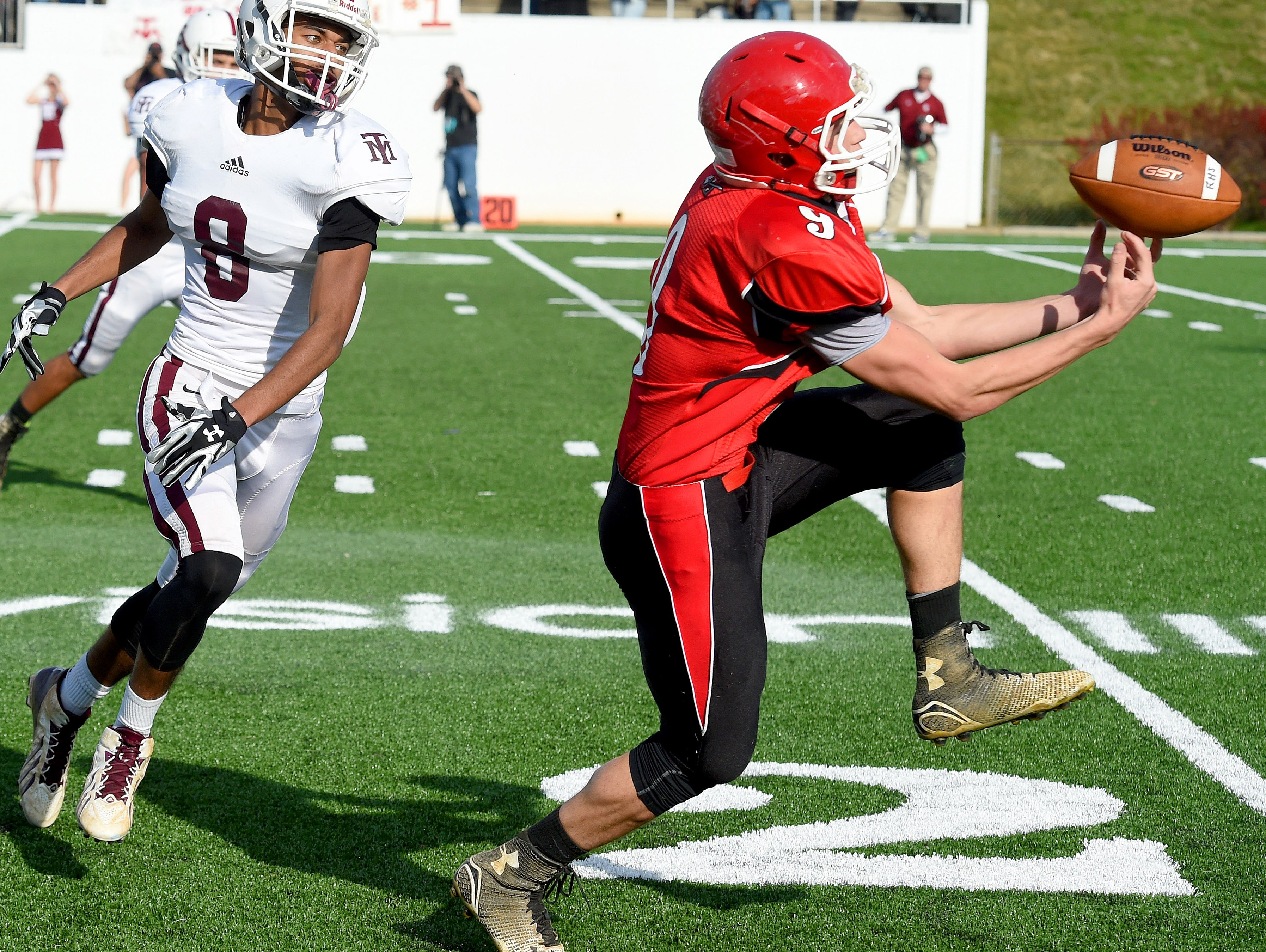 Riverheads' Tyler Smith works his fingers to come away with a 43-yard pass completion and will run the ball down to the 4 yard line during the Group 1A football championship in Salem on Saturday, Dec. 12, 2015. Riverheads lost to Galax 7-6.