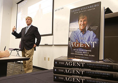 Noted sports agent Leigh Steinberg speaks at the Colangelo College of Business (Photo: Colangelo College of Business)