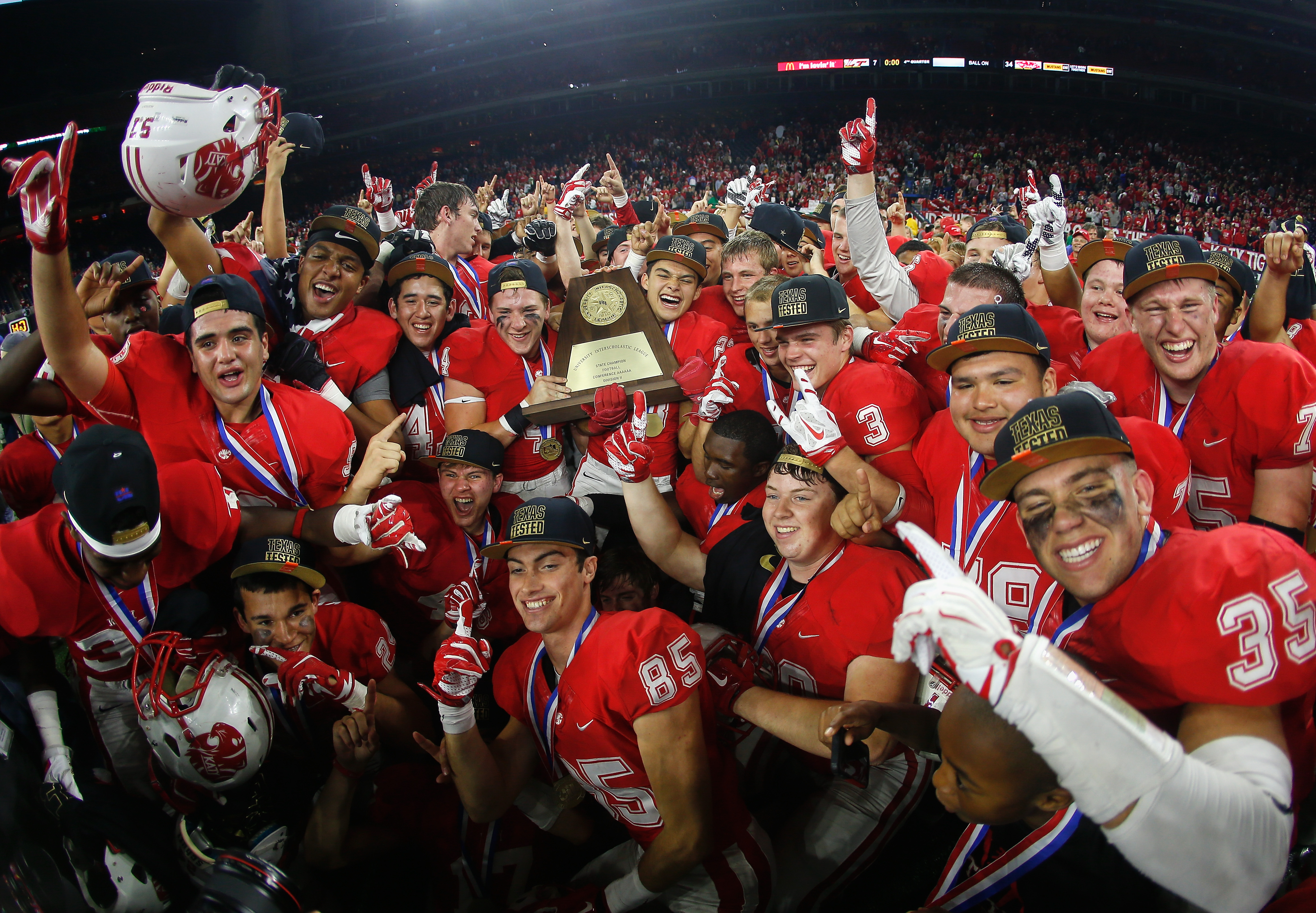 Katy celebrates its win over Lake Travis in the state title game. (Photo: Bob Levey, Associated Press)