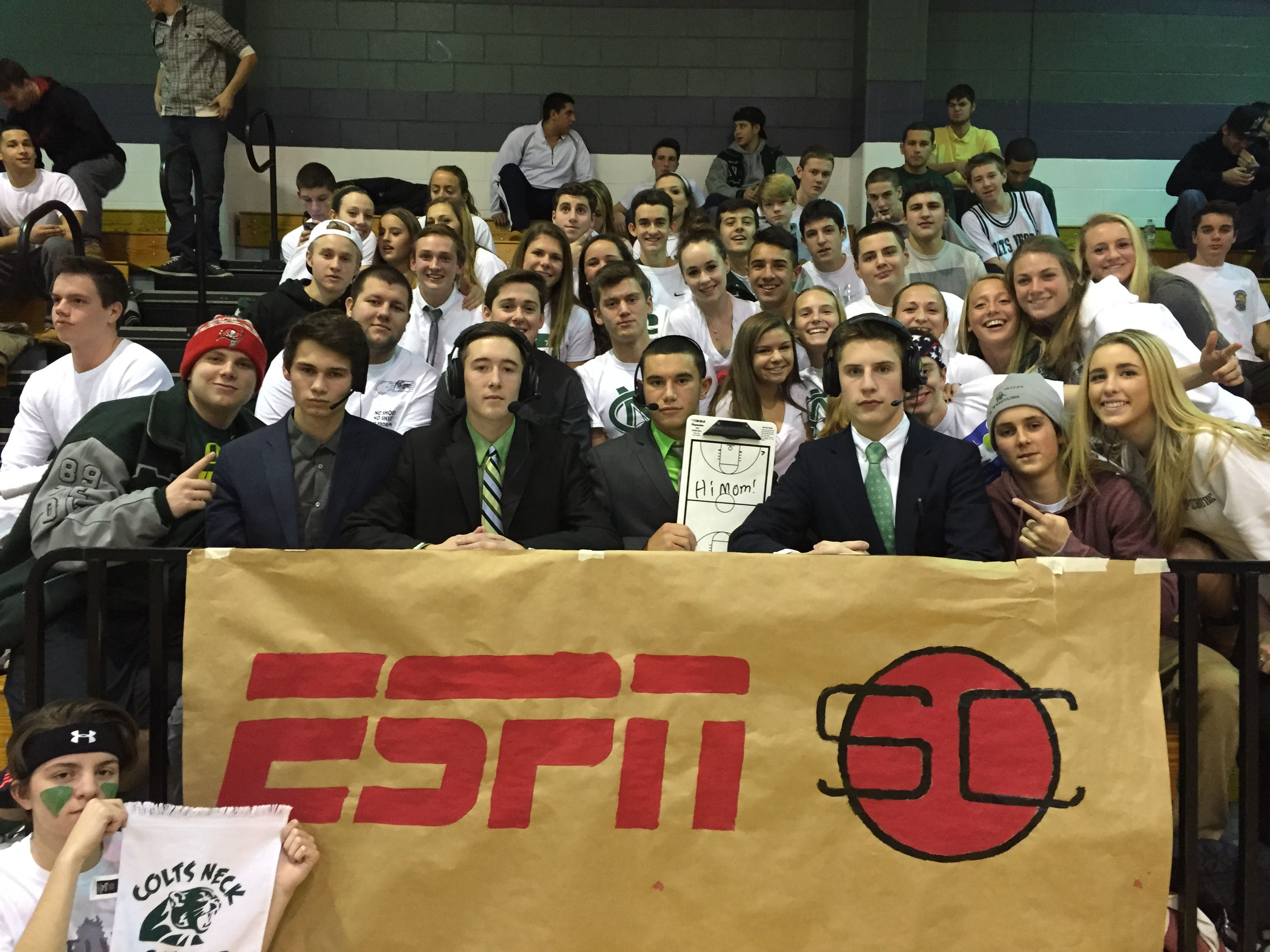 Colts Neck student section at a boys basketball game
