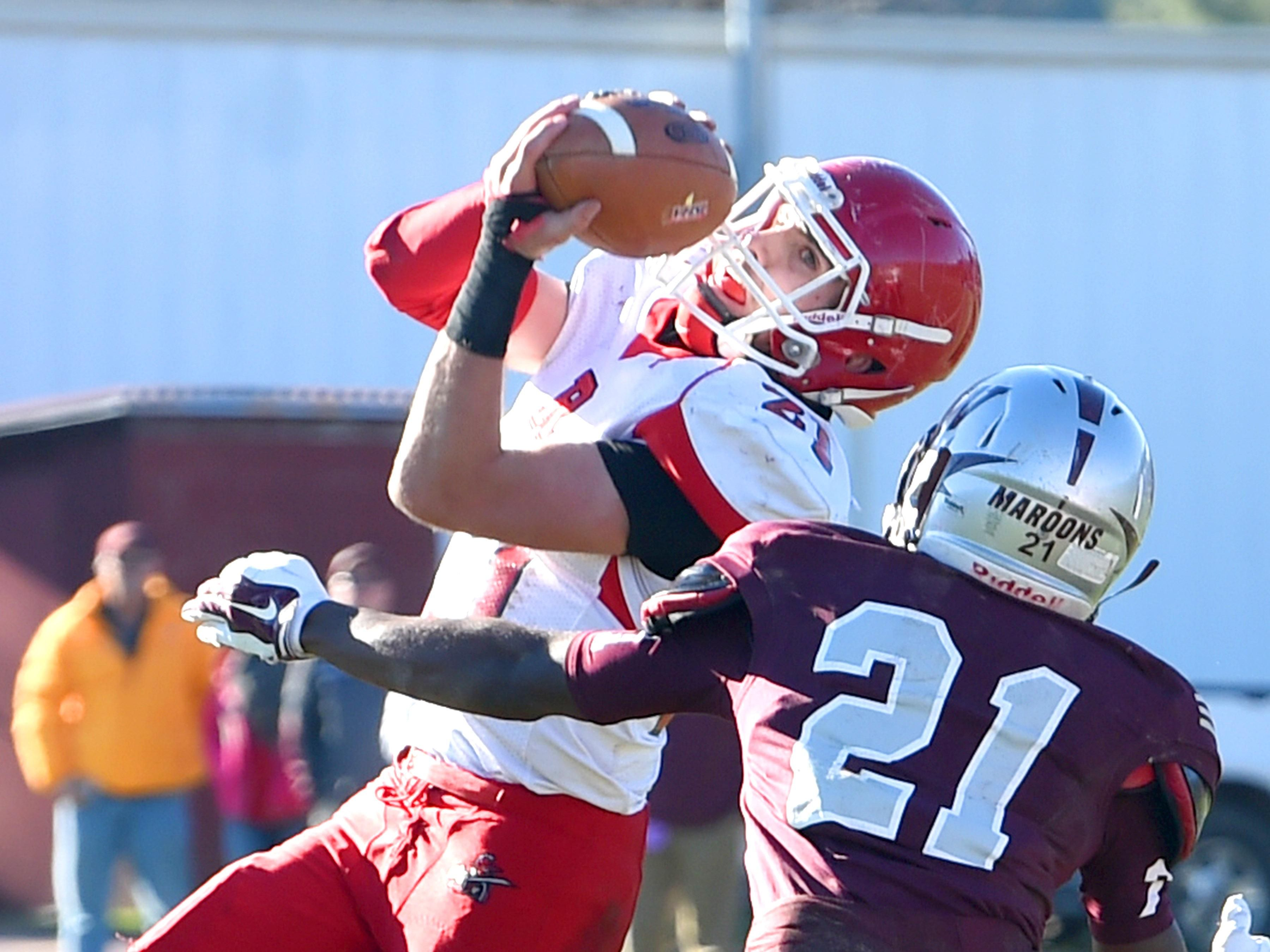 Riverheads' Taz Miller catches the ball for a pass completion during the Group 1A state semifinal football game in Wytheville on Saturday, Dec. 5, 2015.