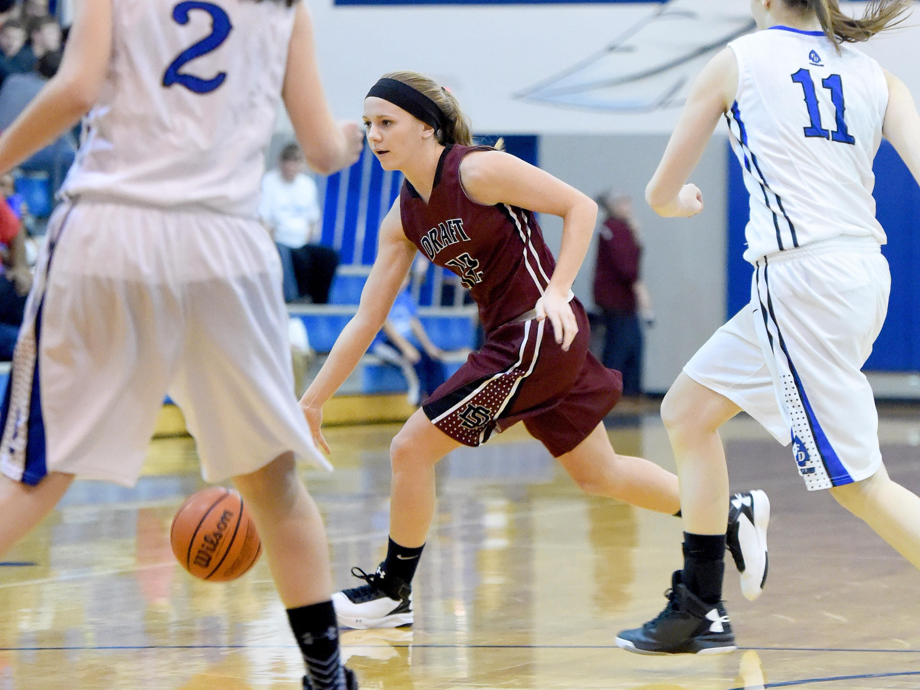 Stuarts Draft's Deborah Black moves the ball as she looks for an opening during a basketball game played in Fort Defiance on Friday, Dec. 11, 2015.