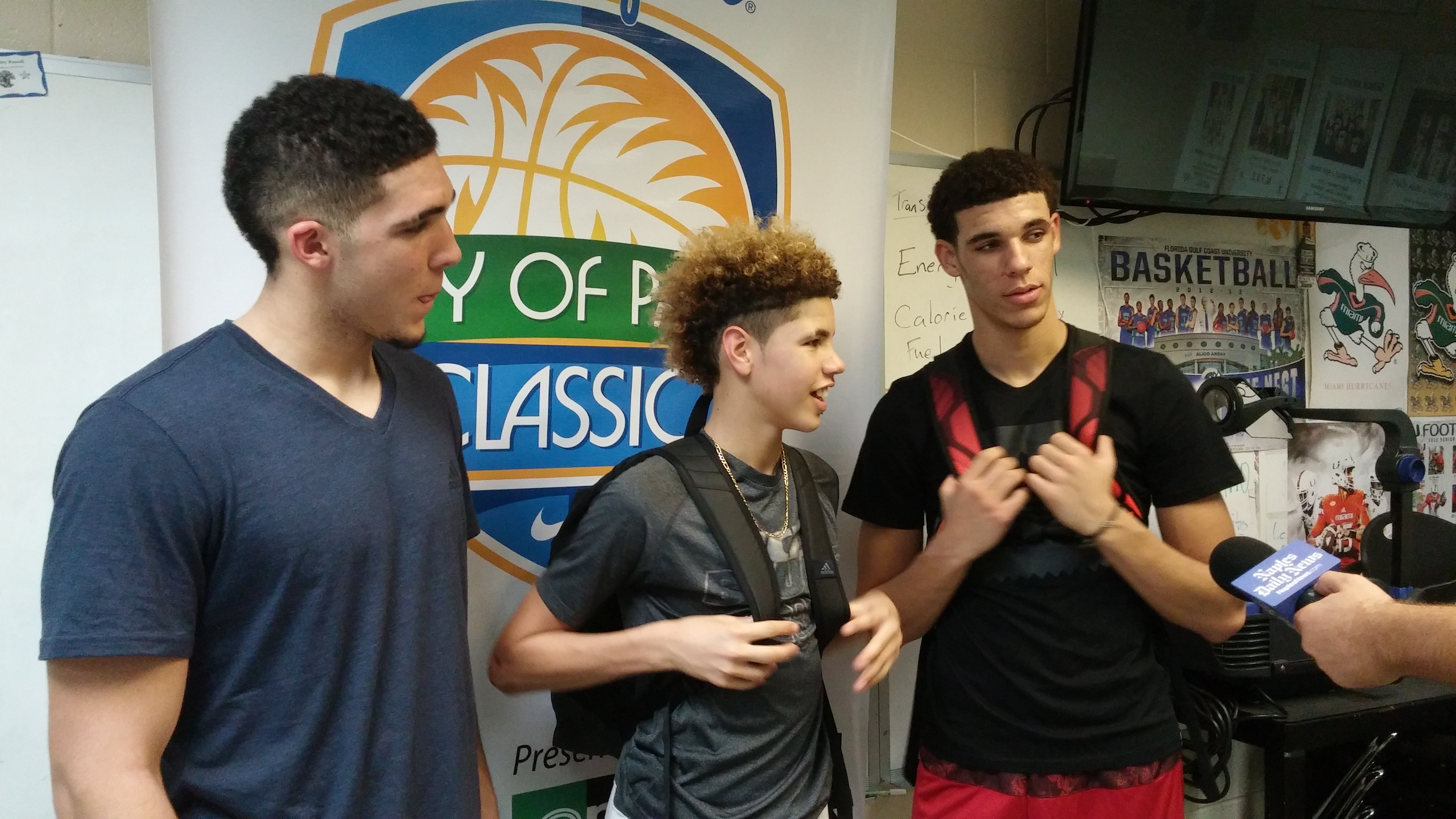 LiAngelo Ball, left, LaMelo Ball, center and Lonzo Ball, right, have everyone talking about Chino Hills. (Photo: Jim Halley, USA TODAY Sports)