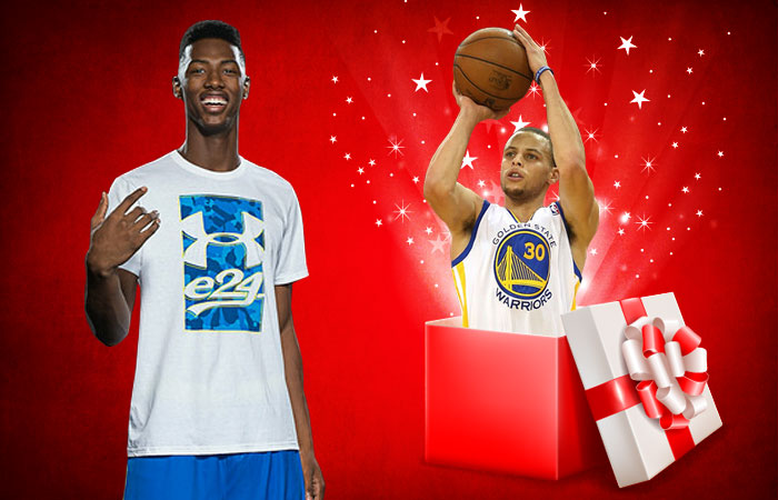 Harry Giles III said he'd love to unwrap Stephen Curry's jumo shot. (Graphic: Barbara Rooker/USA Today Sports)