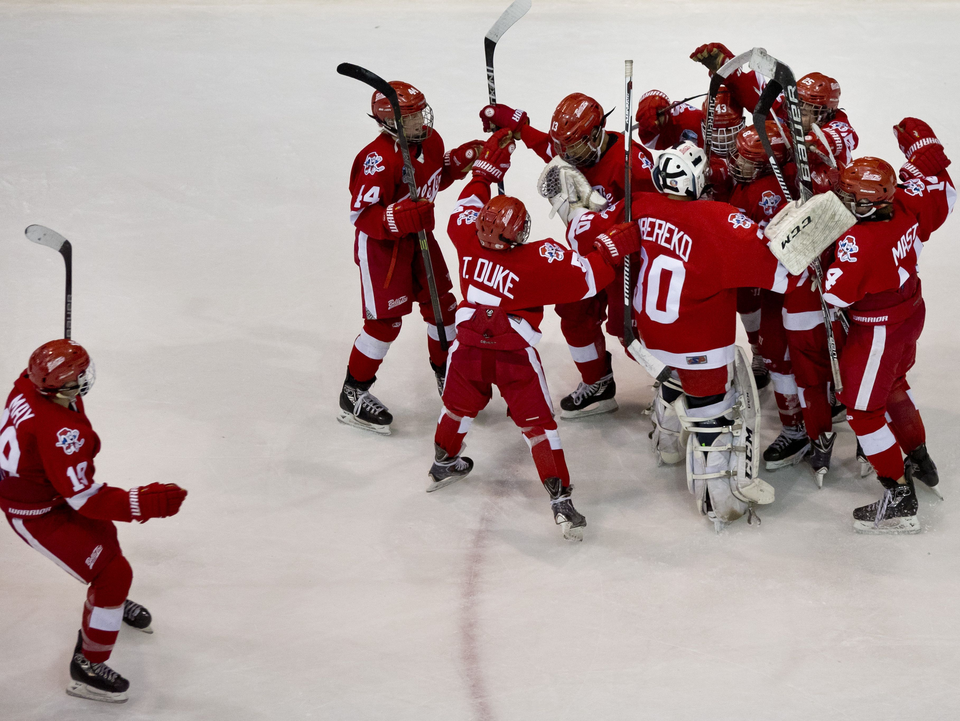 Detroit Belle Tire players celebrate scoring a goal with less than a second on the clock during a Silver Stick PeeWee AAA hockey game Friday, Jan. 8, 2016 at McMorran Arena in Port Huron.