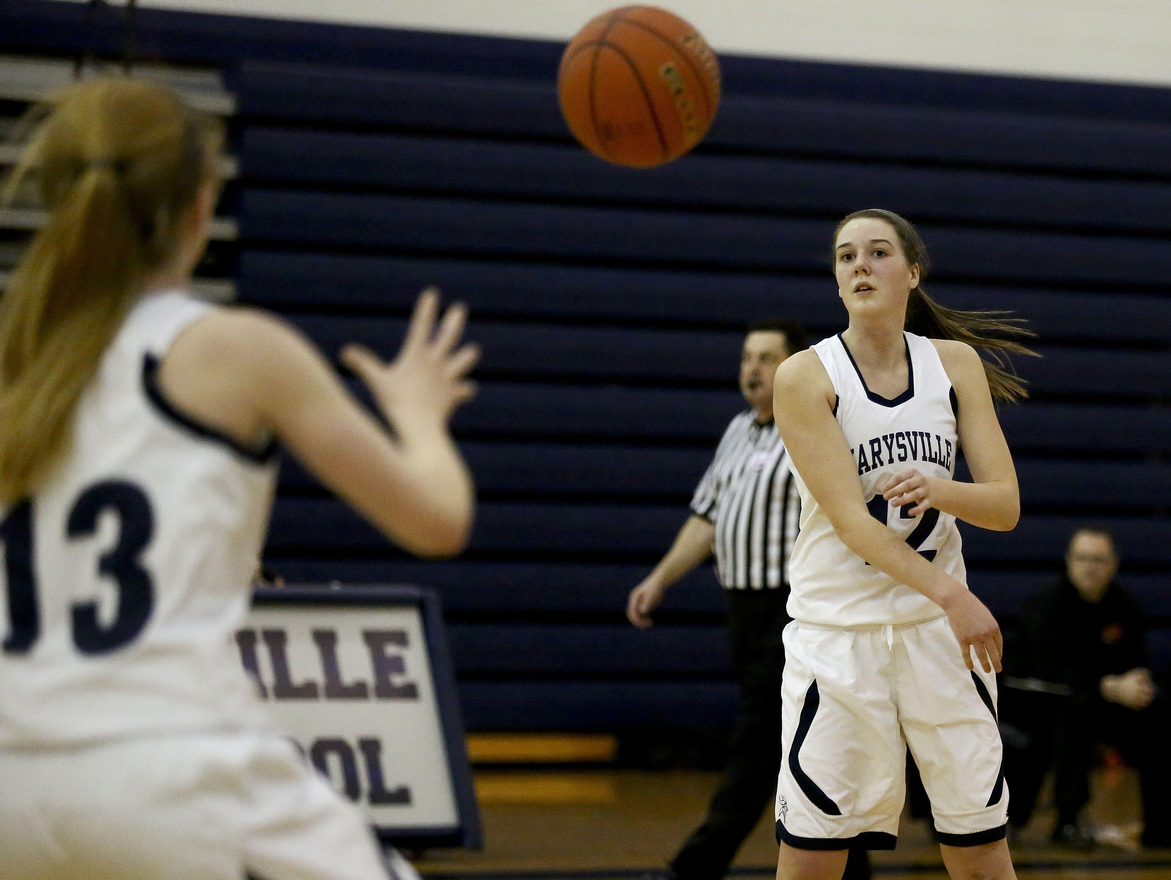 Marysville senior Devan Valko passes the ball during a basketball game Friday, Jan. 8, 2016 at Marysville High School.
