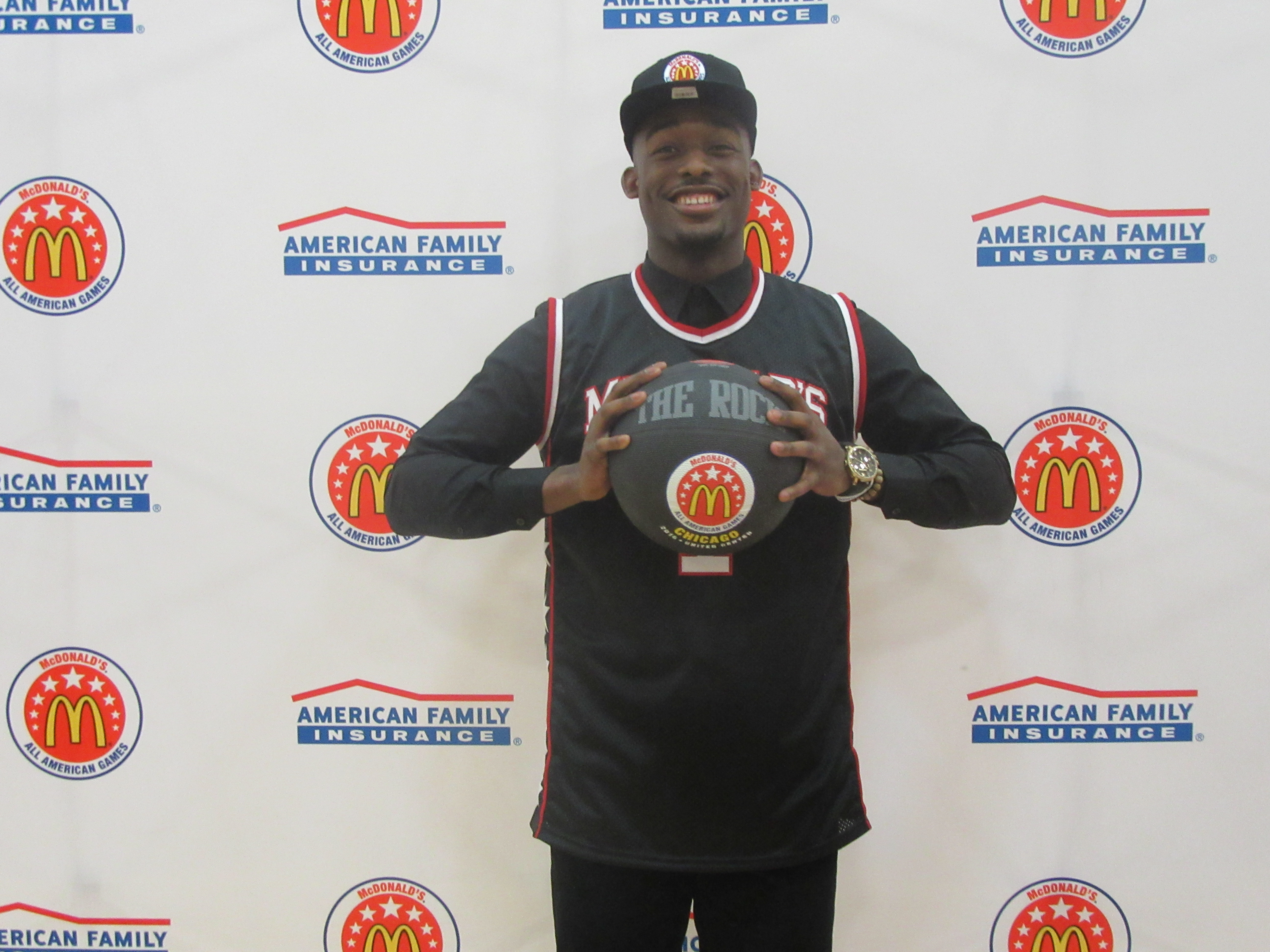 Josh Langord poses after receiving his McDonald's All American jersey (Photo: McDonald's All American Game)