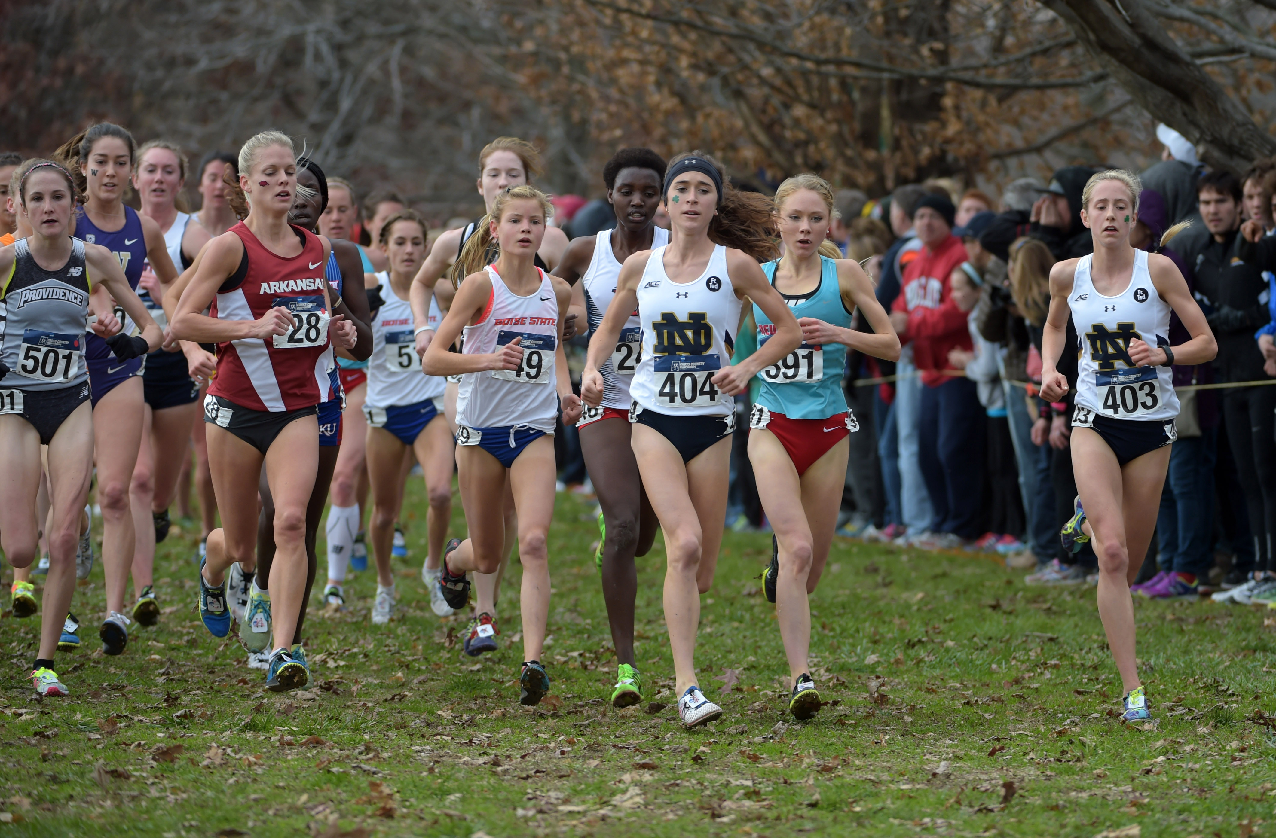 Molly Seidel of Notre Dame (404) wins the womens race in 19:28 during the 2015 NCAA cross country championships at Tom Sawyer Park. From left: Dominique Scott of Arkansas (28) Allie Ostrander of Boise State (49) Seidel and Alice Wright of New Mexico Alice Wright (391) and Anna Rohrer of Notre Dame (403). (Photo: Kirby Lee-USA TODAY Sports)