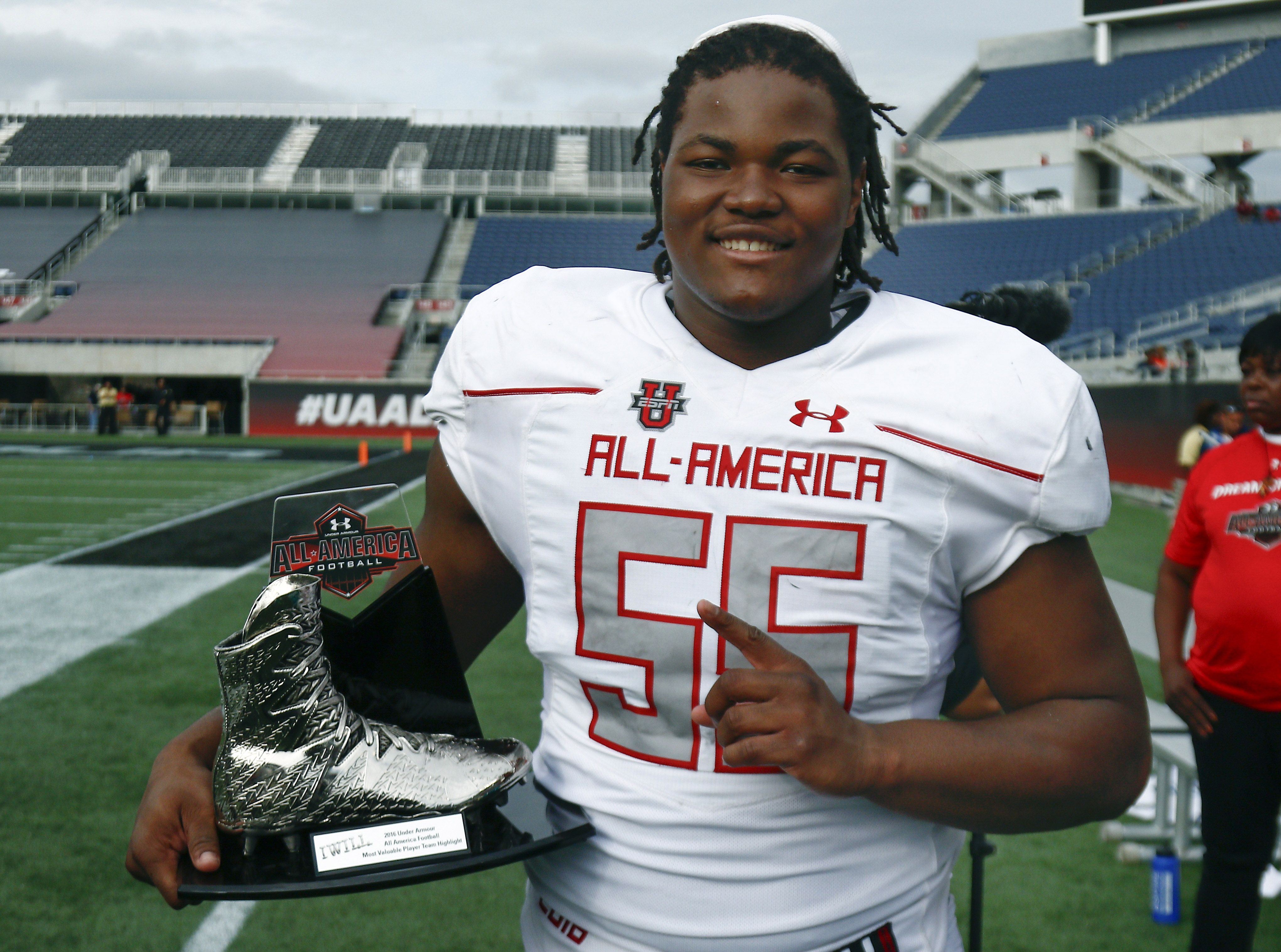 Rashan Gary won the MVP trophy for Team Highlight at the Under Armour All-American Game. (Photo: Reinhold Matay, USA TODAY Sports)