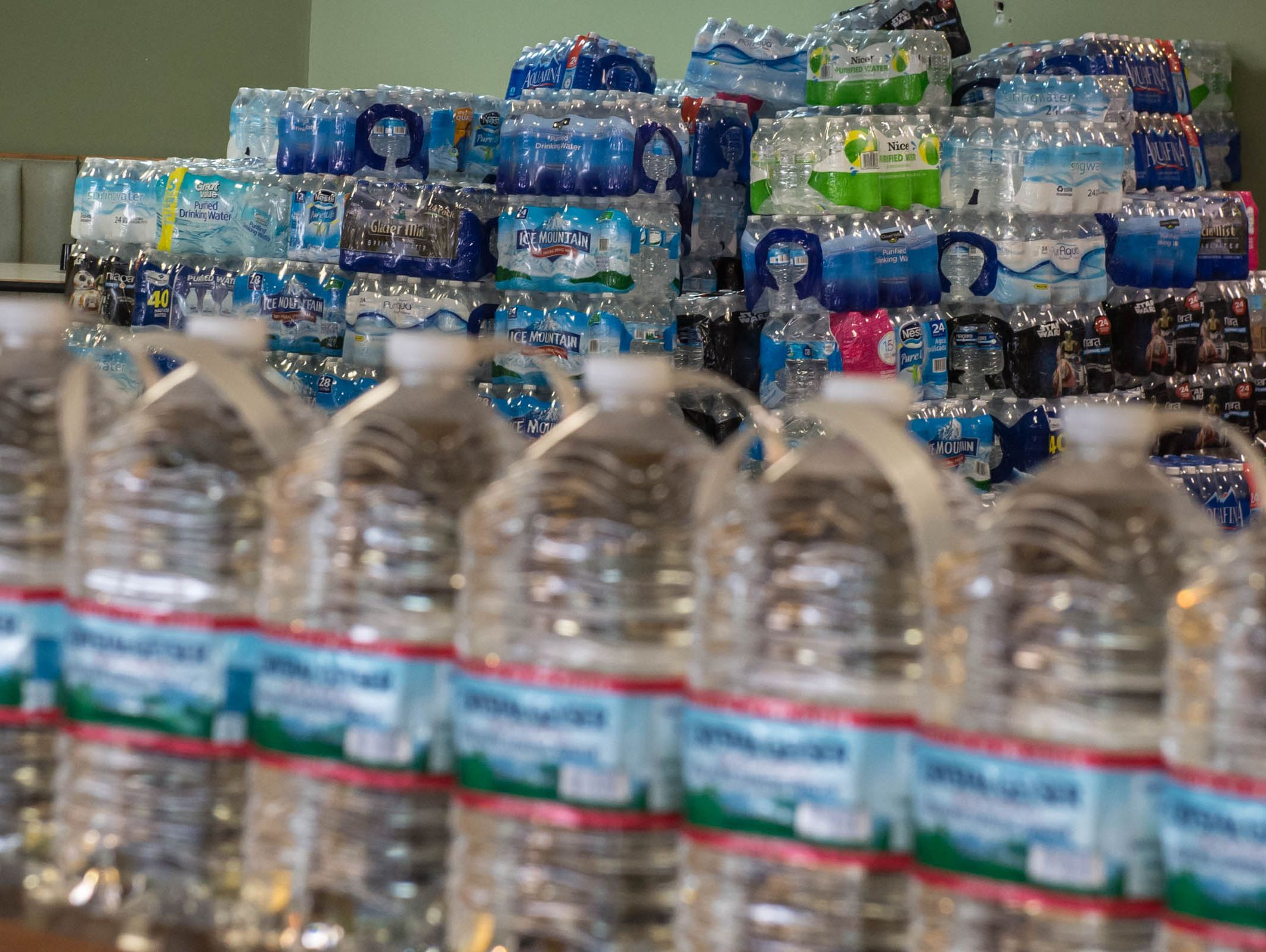 Bottled water collection at B.C.P.D. Pizza on Tuesday.