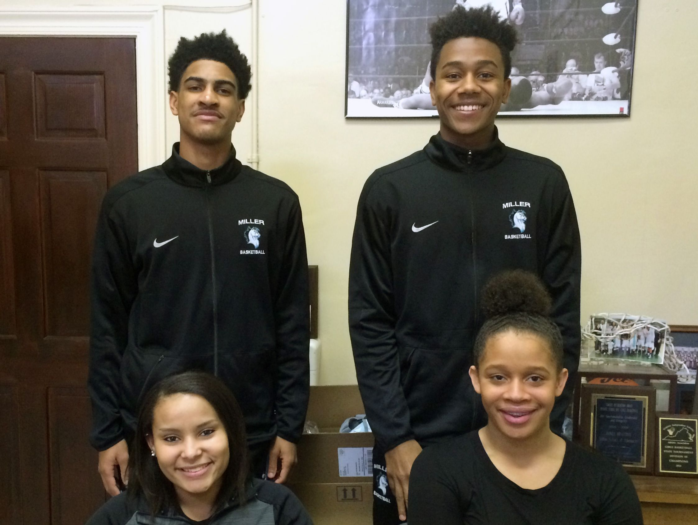 Four former Robert E. Lee athletes are fitting in well at the Miller School in Crozet. Top, from left, Chance Sheffey, Jaylin Reed; bottom, from left, Secret Bryant, Hannah Woodard.