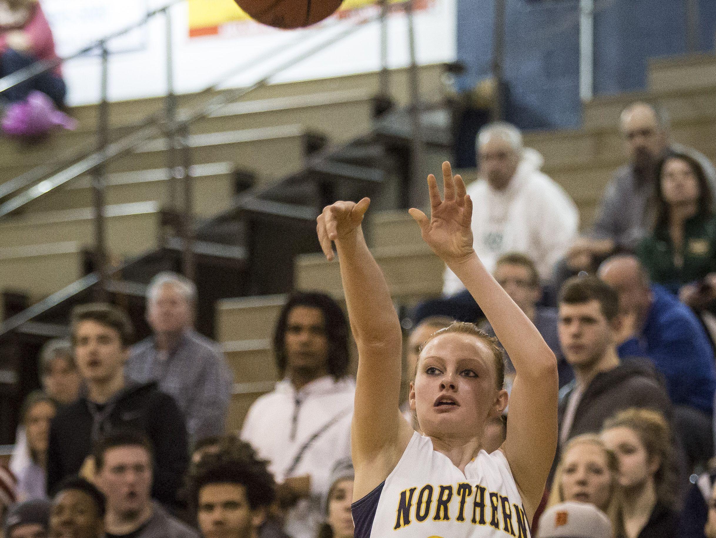 Port Huron Northern junior Kendyl Keyes takes a shot during a basketball game Friday, Feb. 19, 2016 at Port Huron Northern High School.