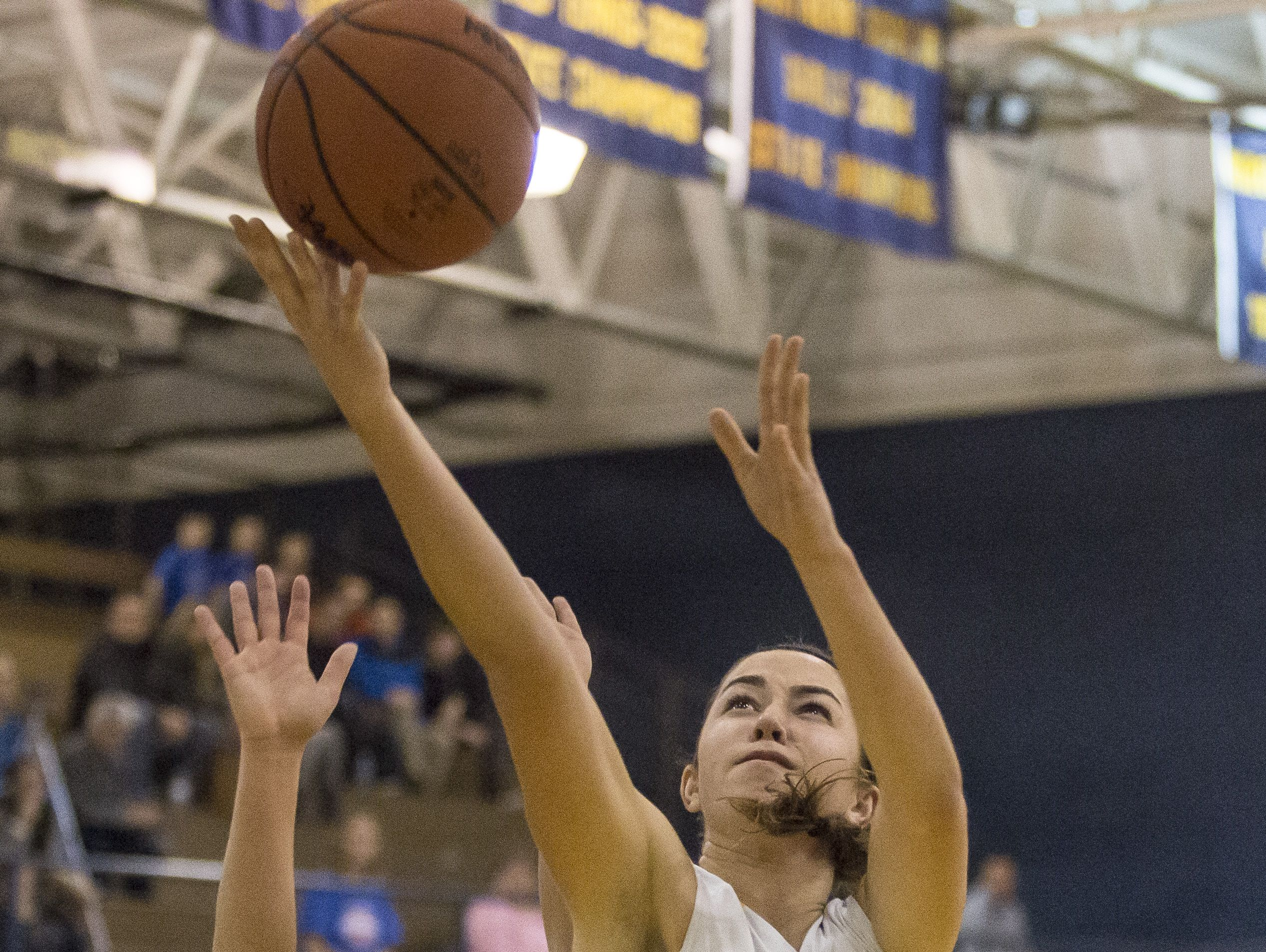 Port Huron Northern junior Jenna Koppinger takes a shot over Cousino senior Machenzie Anderson during a basketball game Friday, Feb. 19, 2016 at Port Huron Northern High School.