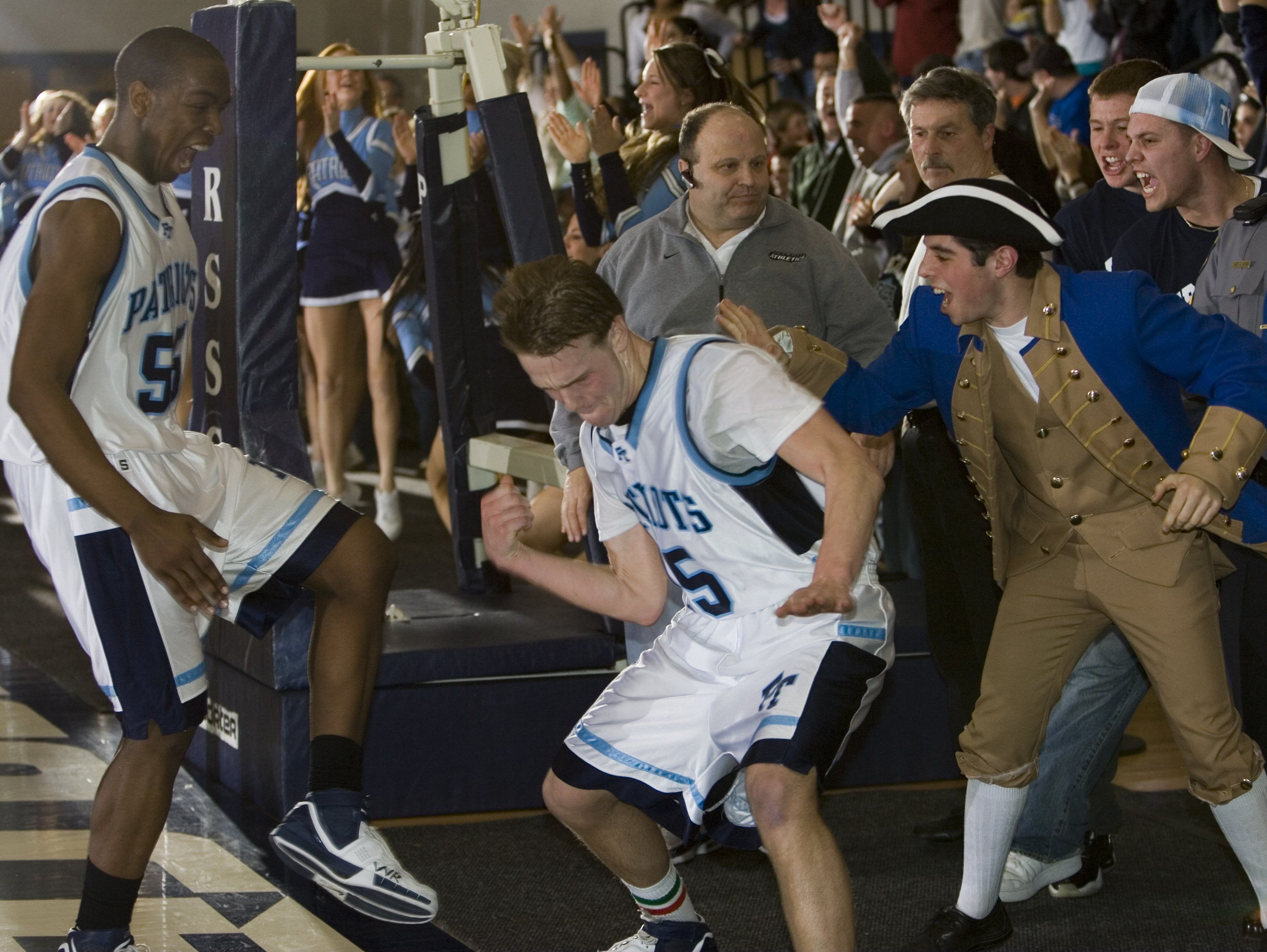 Freehold Township's Eddie Fischer celebrates a scoop layup that put the Colonials up by five points with 49 seconds left in the 2007 SCT final against CBA.