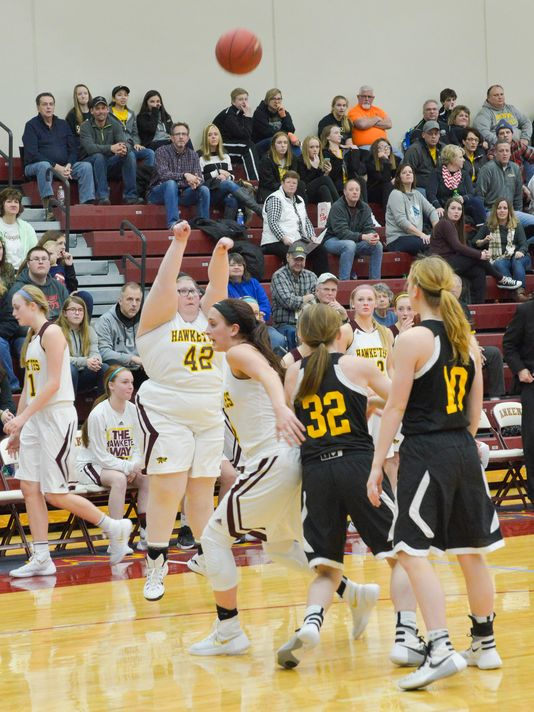 Ankeny senior Ashley Baxter puts up a shot against the Southeast Polk Rams girls basketball team on Feb 5. Baxter has Prader-Willi syndrome. (Photo: Submitted to Des Moines Register)
