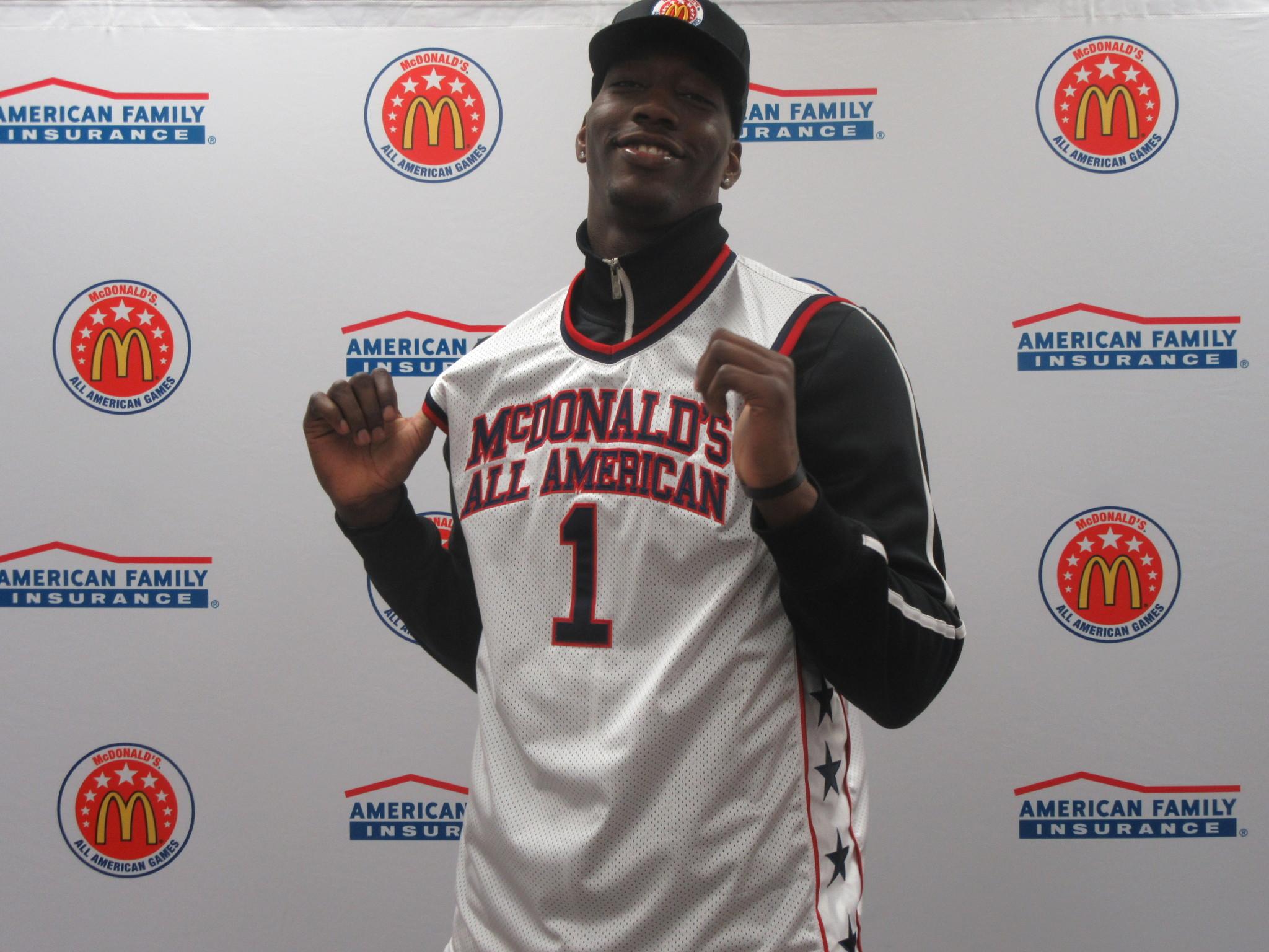 Edrice Adebayo's hard work earned him a McDonald's AA jersey. (Photo: McDonald's All American Game)