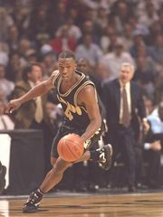 15 Mar 1997: Guard Chauncey Billups of the Colorado Buffaloes dribbles down the court during a playoff game against the North Carolina Tarheels at the Lawrence Joel Veteran Memorial Coliseum in Winston-Salem, North Carolina. North Carolina won the game (Photo: Doug Pensinger, Getty Images)