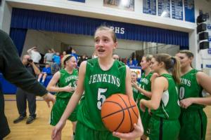 Jenkins guard Whitney Creech reacts after she scored 71 pounts against Paintsville in overtime to become the all-time scorer in Kentucky at 4, 957 on Feb. 2 (John Flavell, Special to the Courier-Journal)