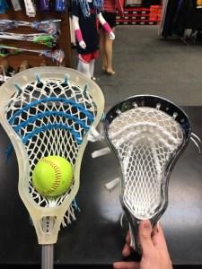 Thomas DeSimone's enlarged lacrosse head, as seen next to a traditional head (Photo: Thomas DeSimone)