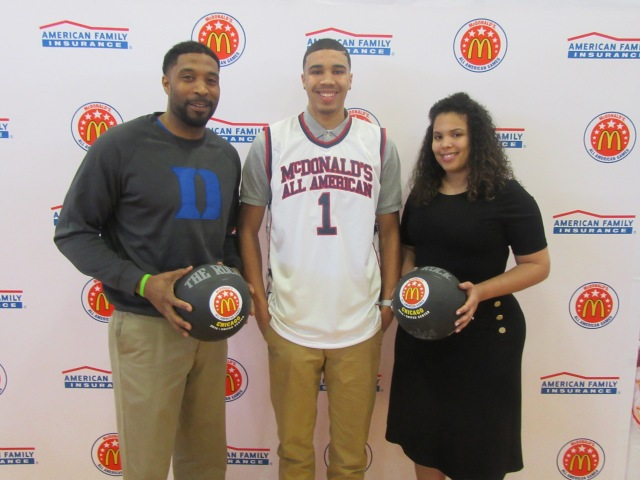 Jayson Tatum celebrates his McDonald's All American Game selection with his parents (Photo: McDonald's All American Game)