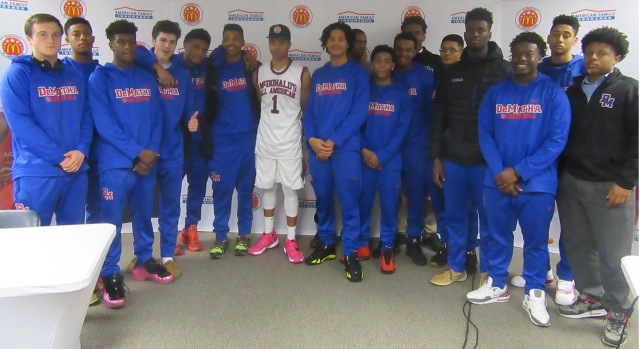 Markelle Fultz is surrounded by his DeMatha Catholic teammates after receiving McDonald's All American Game jersey (Photo: McDonald's All American Game)