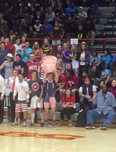 Students hold up a Donald Trump Fathead at an Indiana basketball game (Photo: Facebook)