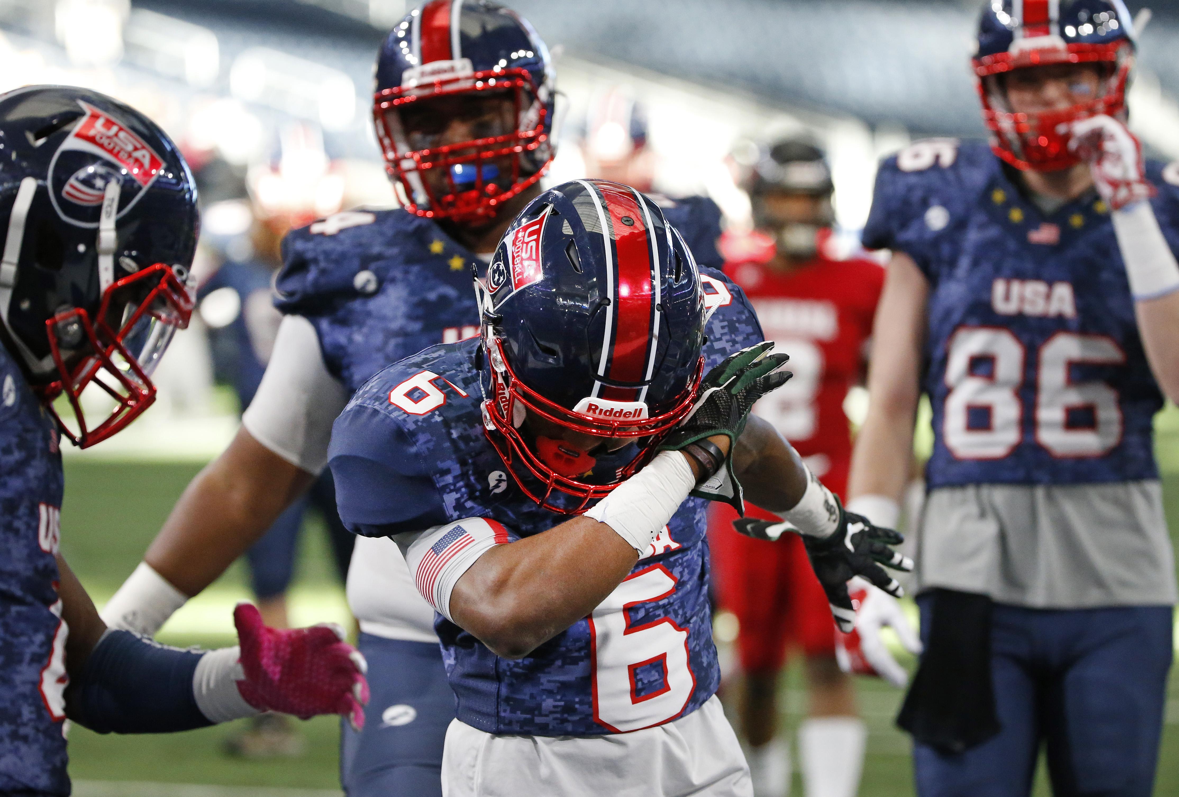 Team USA running back Kameron Martin hits the dab (Photo: Ron Jenkins, USA Football)