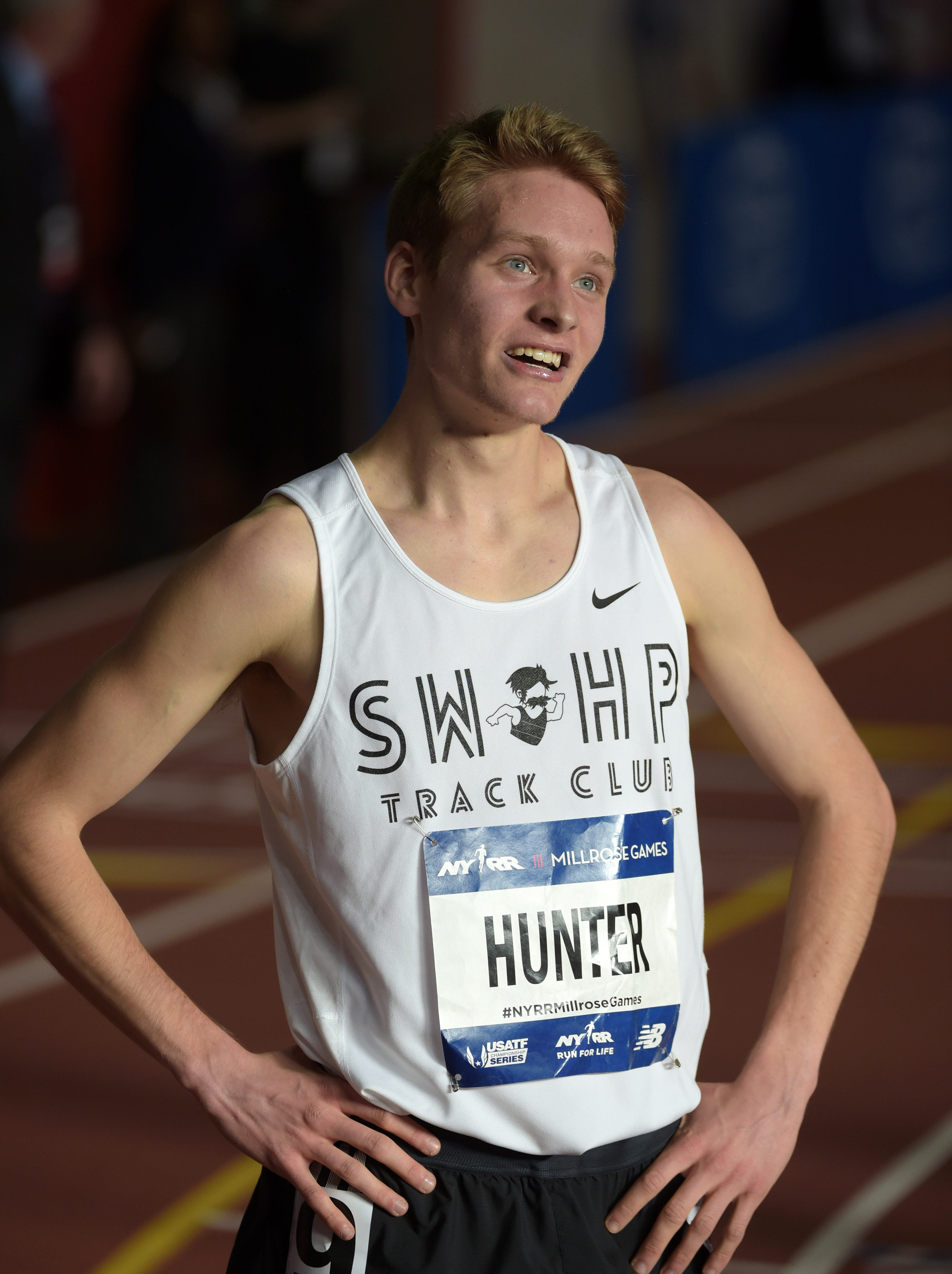 Drew Hunter reacts after setting a national high school indoor record 3:57.81 during the 109th Millrose Games (Photo: Kirby Lee, USA TODAY Sports)