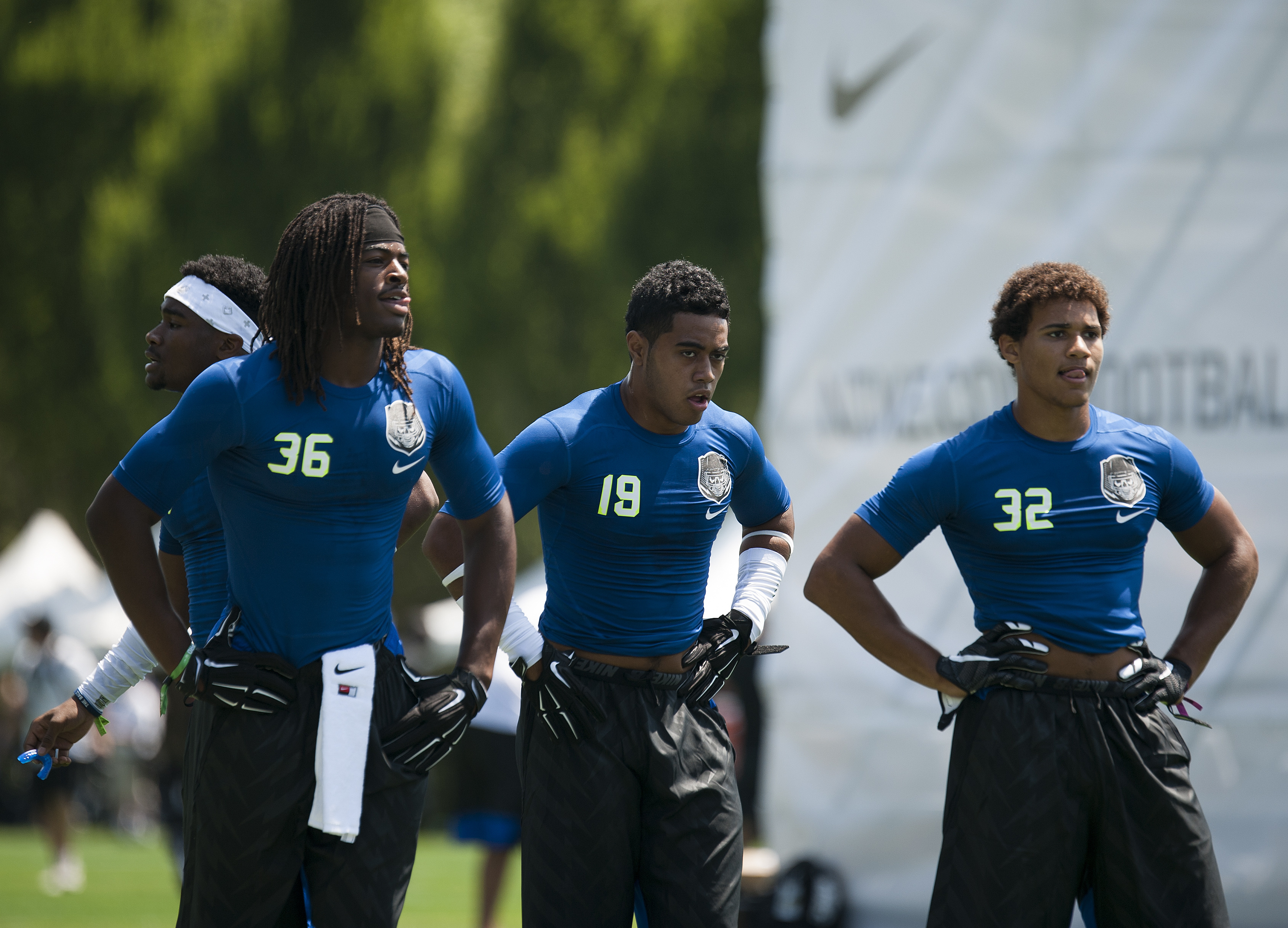 Running backs Najee Harris (36), Vavae Malepeai (19) and Travis Homer (32) wait to participate in a running back drill during The Opening (Photo: Godofredo Vasquez, USA TODAY Sports)