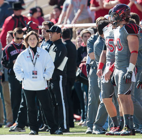 Danielle Bartelstein on the sideline at Texas Tech (Photo: Michael Strong, Texas Tech athletics)