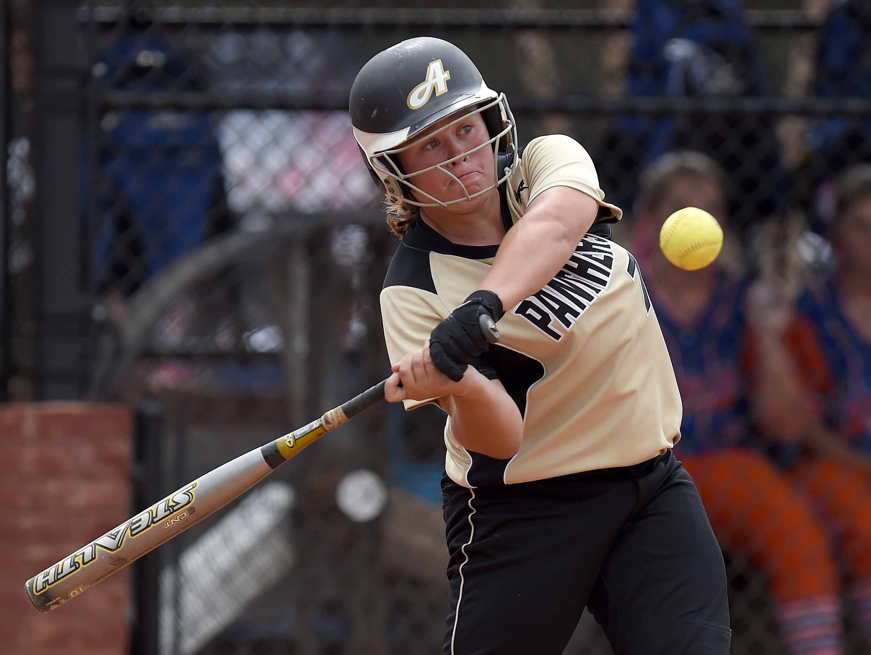 Amory's Brittany Edgeworth, a second-team selection, belts a double in the 4A championship game.
