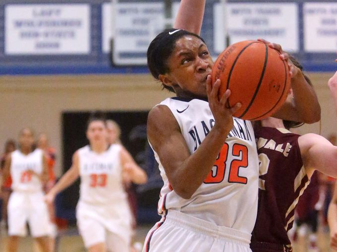 Blackman's Crystal Dangerfield (32) goes for a shot during the Region 4-AAA girls basketball semifinal game against Riverdale, on Monday, Feb. 29, 2016, at La Vergne. (Photo: Helen Comer, Daily News Journal)