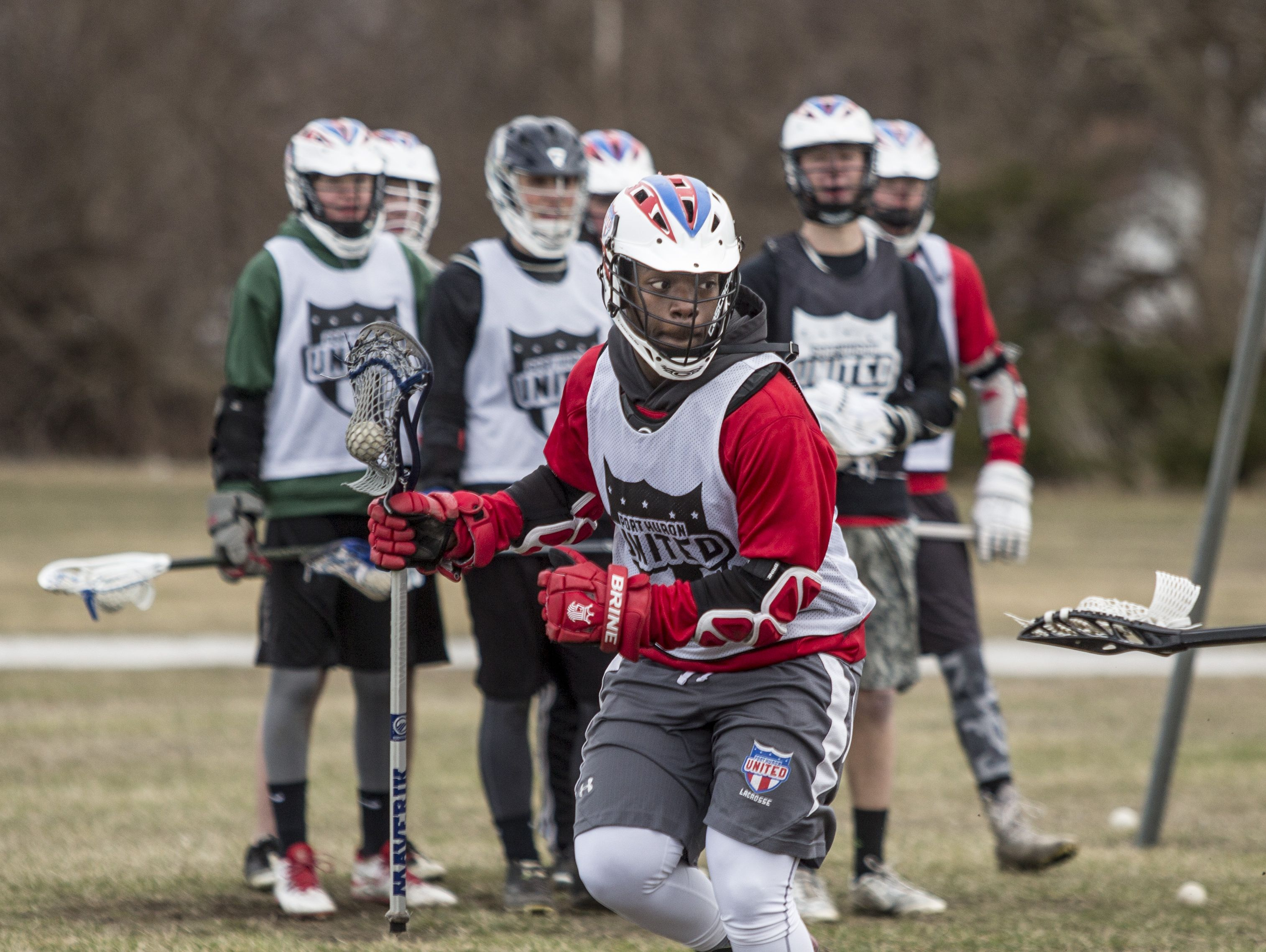 Port Huron Unified junior Josh Alston runs a drill during practice Friday, March 18, 2016 at Central Middle School.