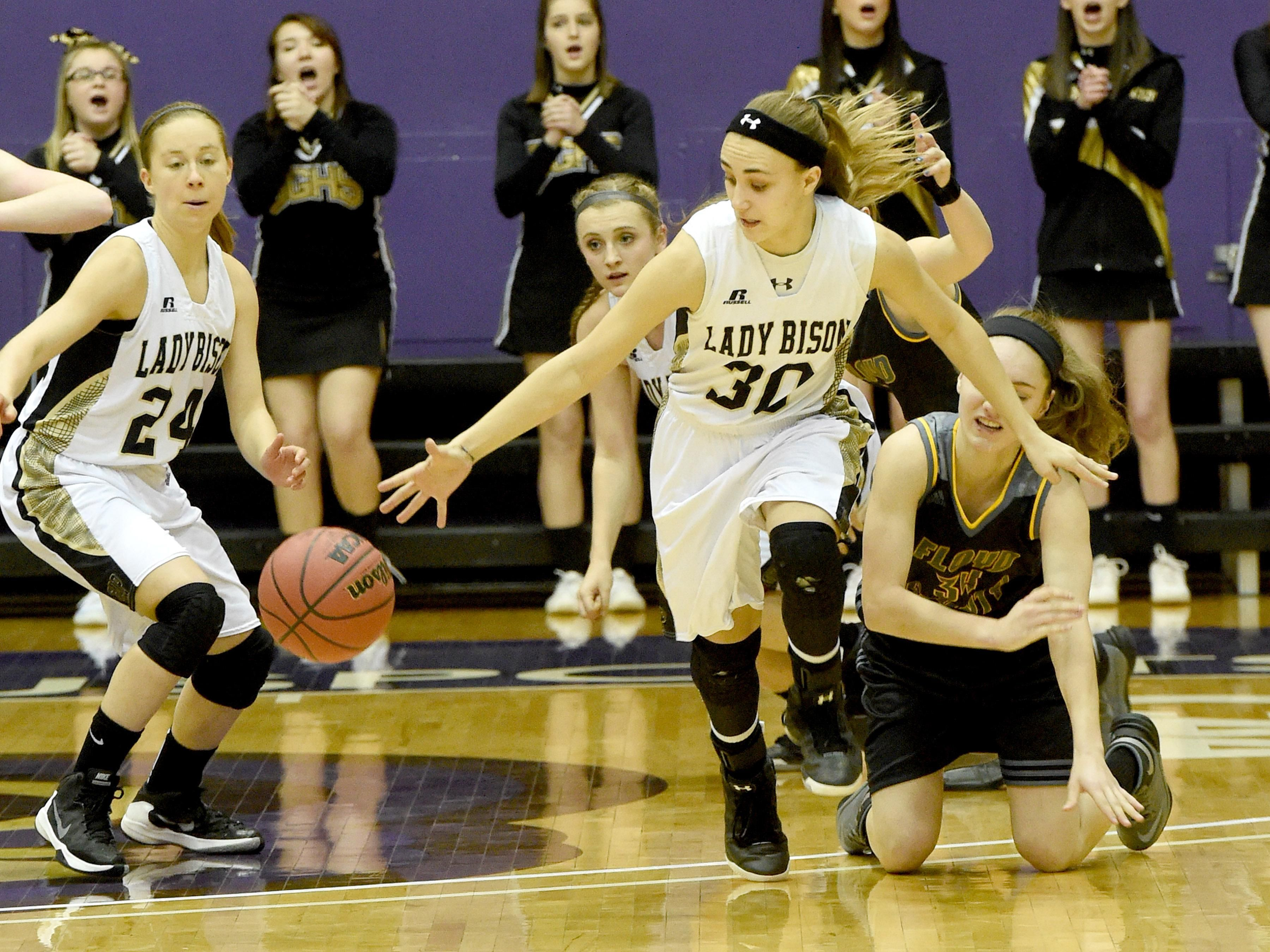 Buffalo Gap's Destiny Harper, center, the All-City/County Defensive Player of the Year, led the Bison with 124 steals and 190 rebounds.