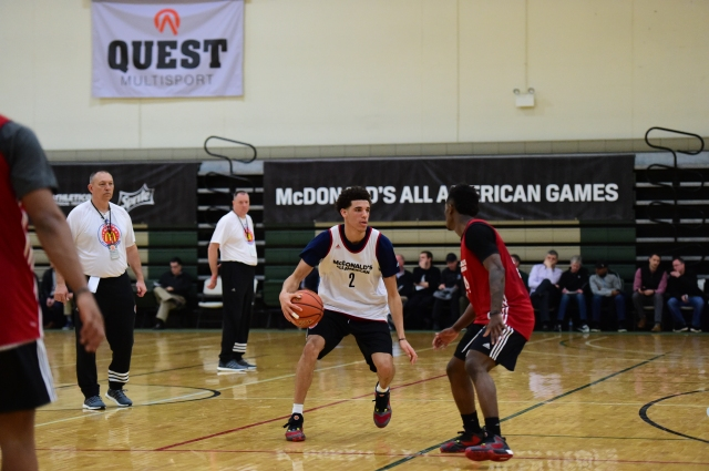 Lonzo Ball drives to the lane at McDonald's AA practice. (Photo: McDonald's All American)