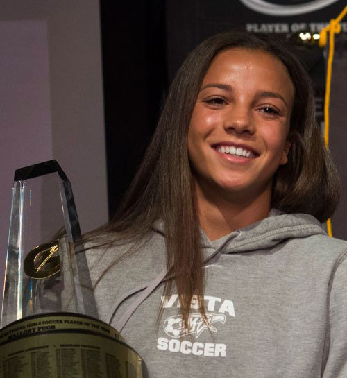 Who will follow in the footsteps of 2014-15 Gatorade National Girls Soccer Player of the Year Mallory Pugh? Find out first at USA TODAY High School Sports in May. (Photo: Susan Goldman, Gatorade)