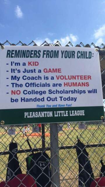 Pleasanton Little League posted this hilarious message to baseball parents. (imgur)