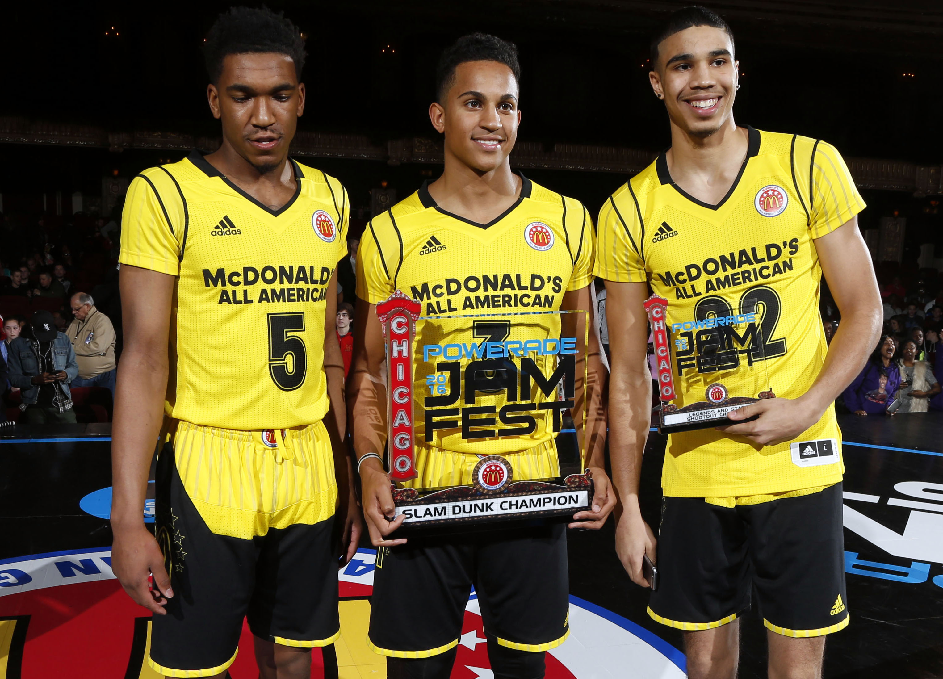 Malik Monk (from left), Frank Johnson, and Jayson Tatum pose for a photo after winning the three men's competitions during the McDonalds All-American Powerade Jamfest (Photo: Brian Spurlock, USA TODAY Sports)