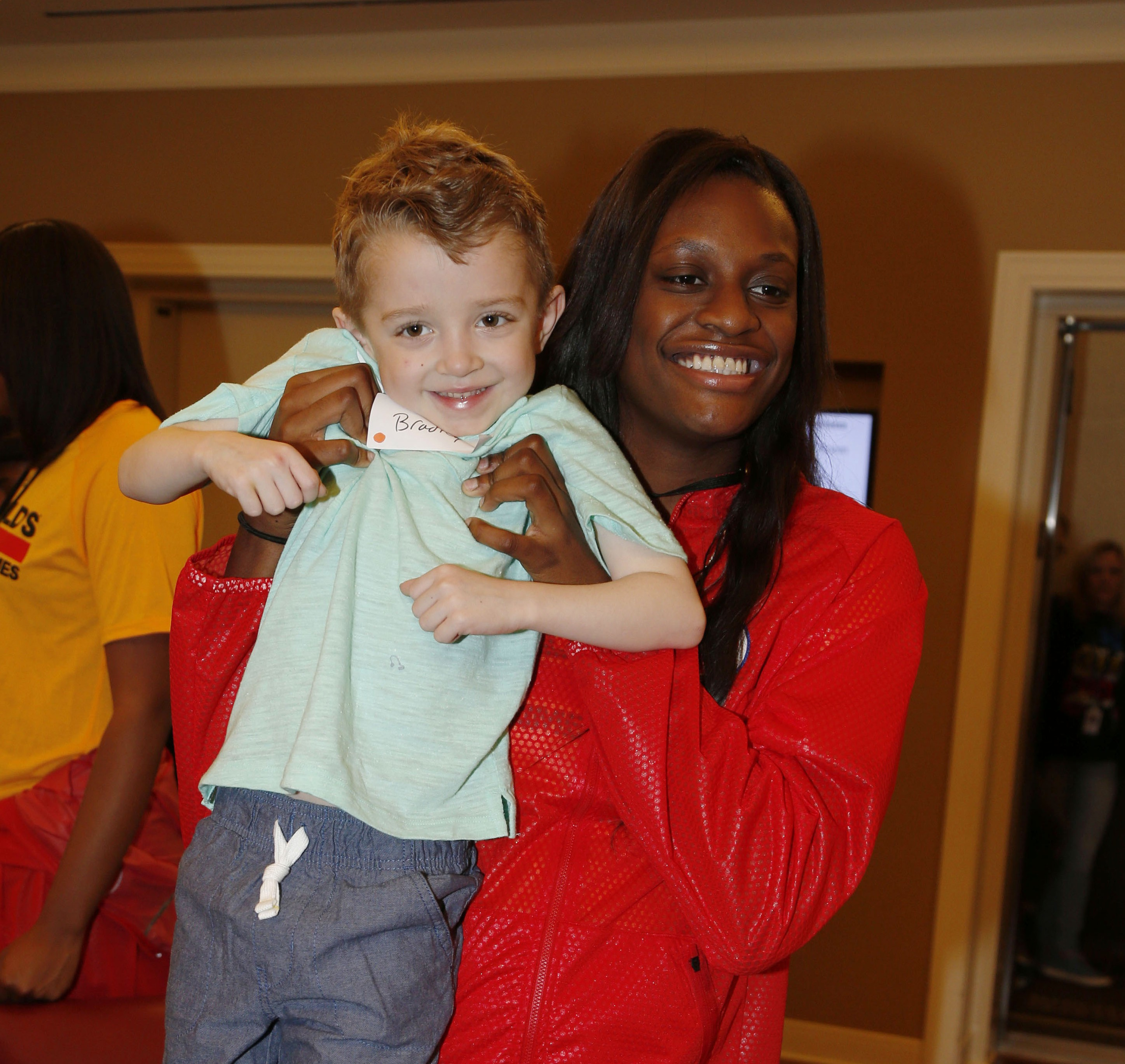 Joyner Holmes poses for a photo with Bradley Godish at the Ronald McDonald House in Chicago. (Photo: Brian Spurlock, USA TODAY Sports)