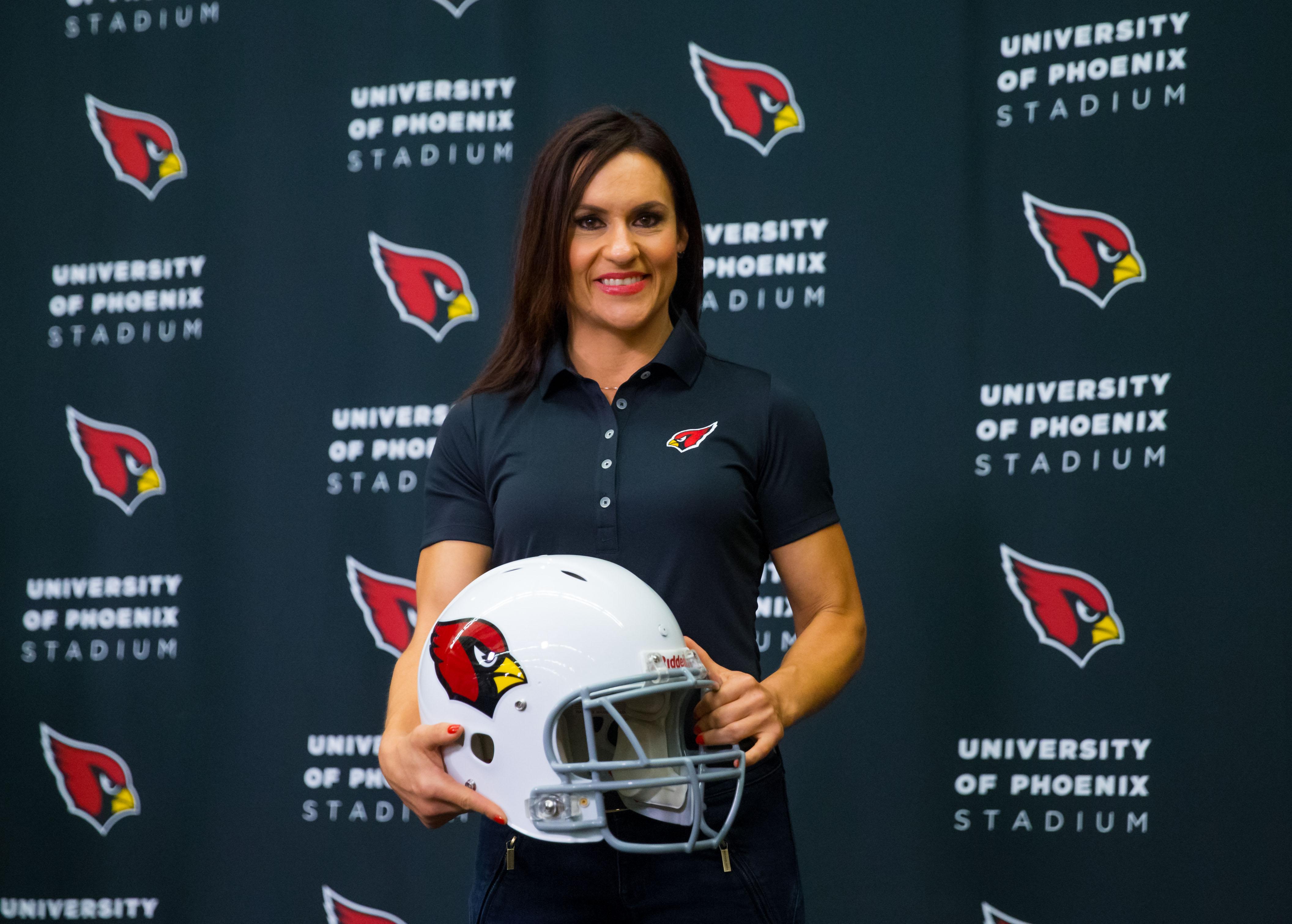 Jen Welter being introduced as an Arizona Cardinals assistant last summer. (Mark J. Rebilas-USA TODAY Sports)