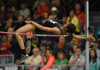 Vashti Cunningham wins the womens high jump with a national high school record 6-6 1/4 (1.99m) during the 2016 USA Indoor Championships (Photo: Kirby Lee)