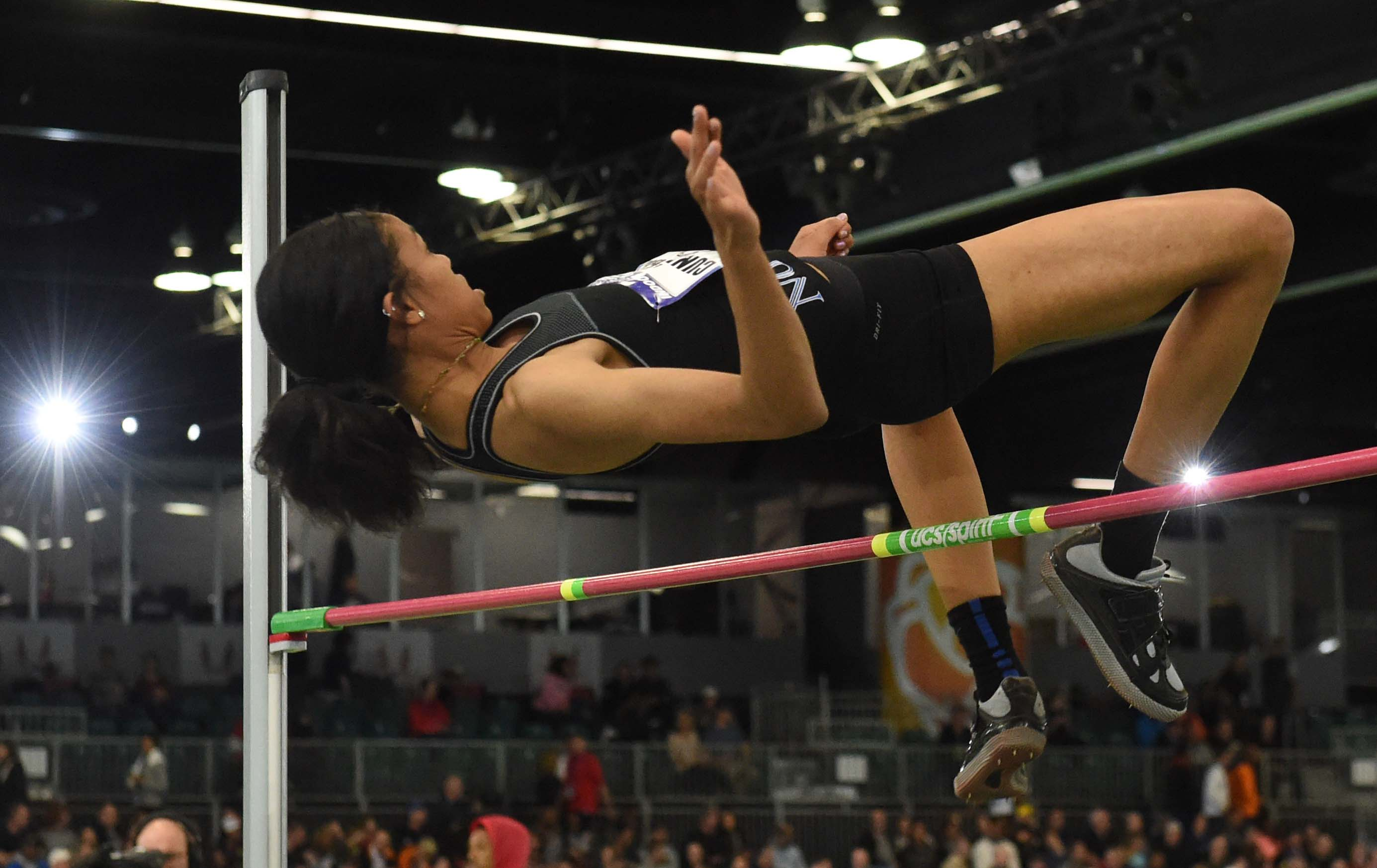 Vashti Cunningham wins the womens high jump in a national high school record 6-6 1/4 (1.99m) during the 2016 USA Indoor Championships (Photo: Kirby Lee, USA TODAY Sports)