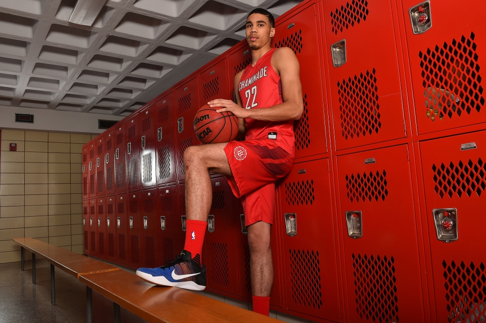 3/23/16 3:54:37 PM -- St. Louis, MO, U.S.A -- Jayson Tatum of Chaminade College Prep in St. Louis is one of our ALL USA TODAY basketball players of the year candidates. -- Photo by Jasen Vinlove-USA TODAY Sports Images, Gannett ORG XMIT: US 134653 Jayson Tatum 3/22/201 [Via MerlinFTP Drop]