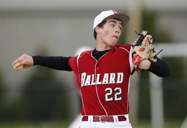 Ballard High School pitcher Tyler Horsley (22) throws a pitch against the Zionsville High School during their game at Ballard High School in Louisville, Kentucky. April 8, 2016
