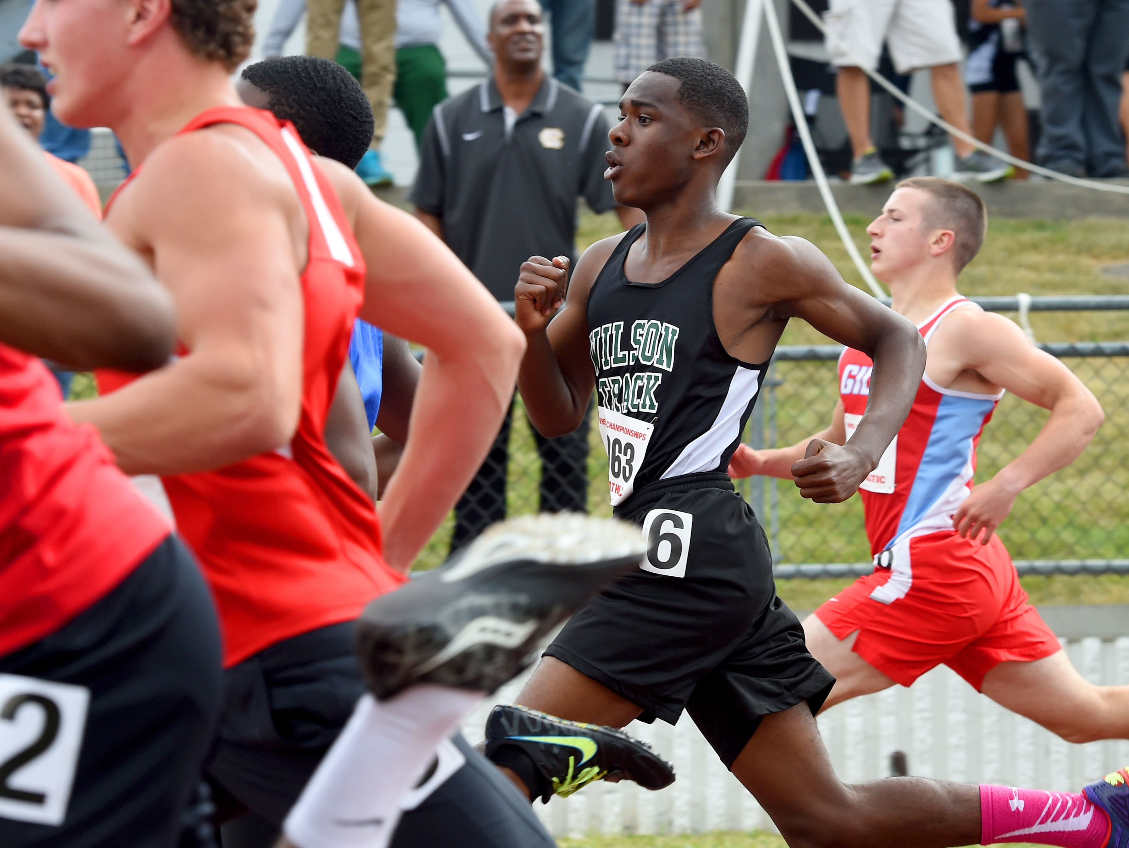 Wilson Memorial's Julian Edwards competes in the boys 100 meter dash during the first day of the state 2A track championships in Radford on Friday, June 5, 2015.