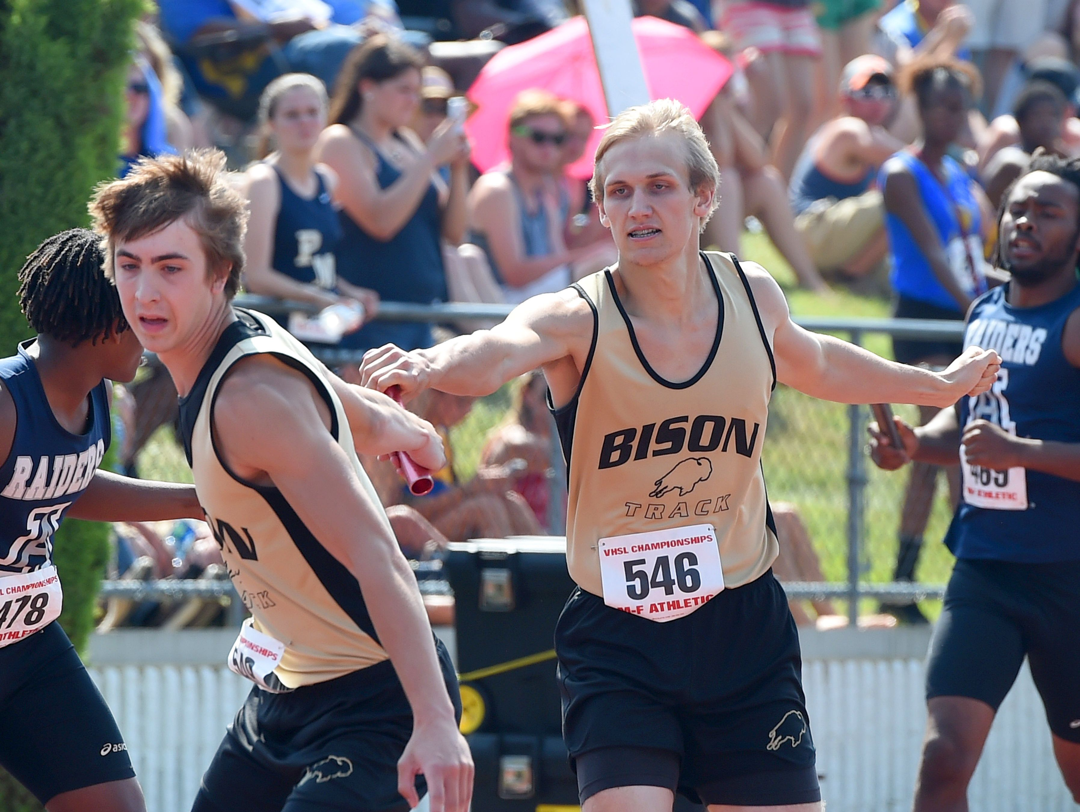 Aaron Huff, center, will run the sprints and the relays for Buffalo Gap this season/