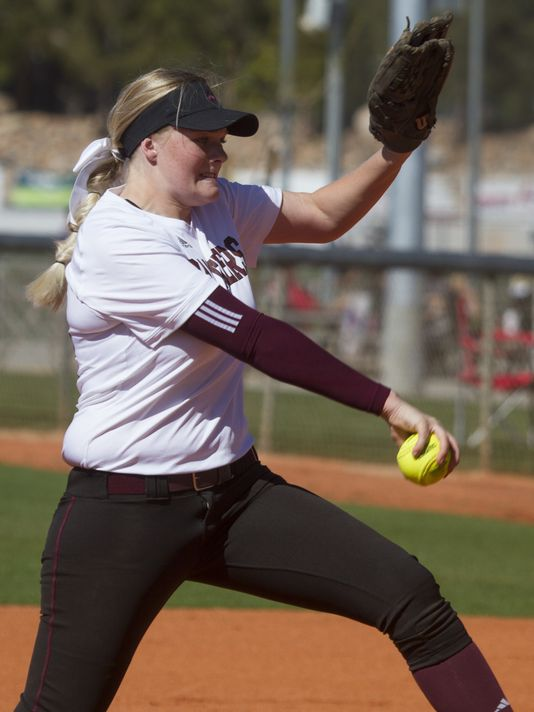 Pine View pitcher Addie Horspool throws against Hurricane High (Photo: Chris Caldwell, The Spectrum & Daily News)